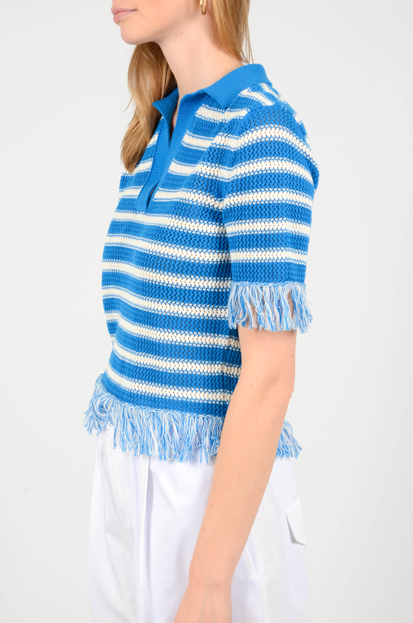FRINGE KNITTED POLO TOP-3
