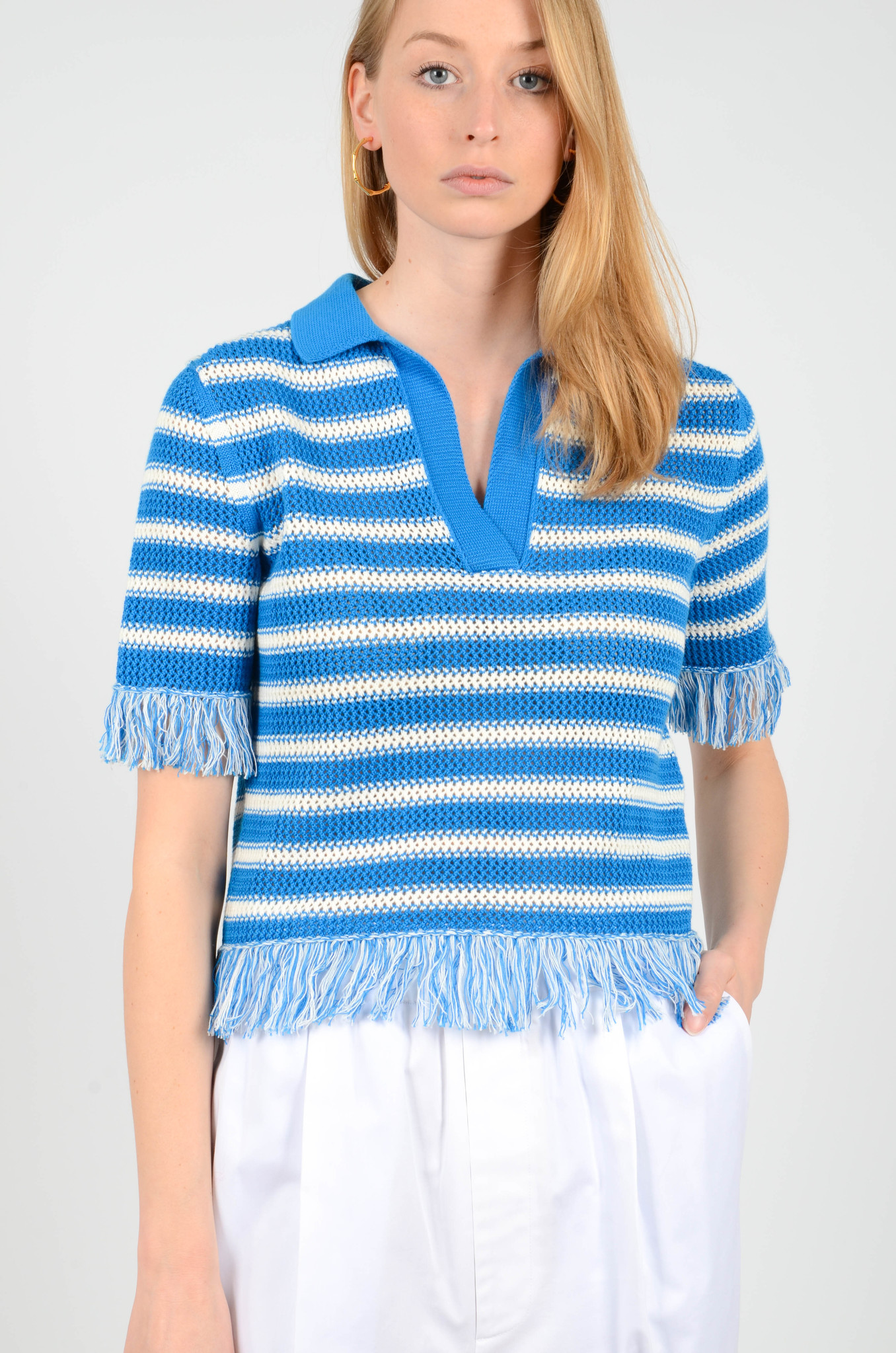 FRINGE KNITTED POLO TOP-6