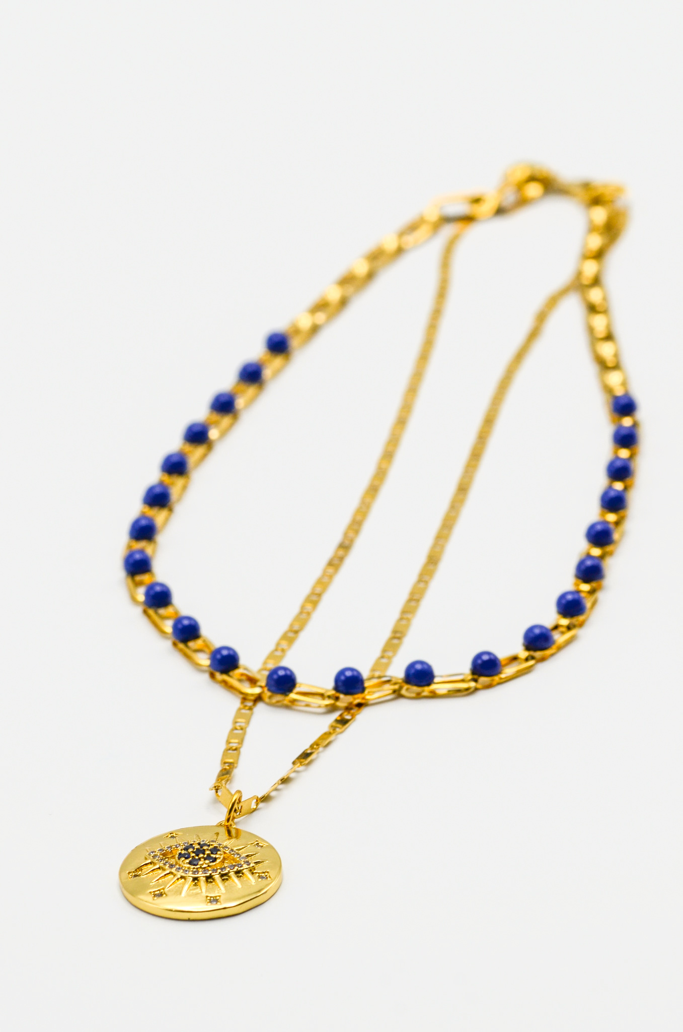 DOUBLE NECKLACE IN BLUE-2