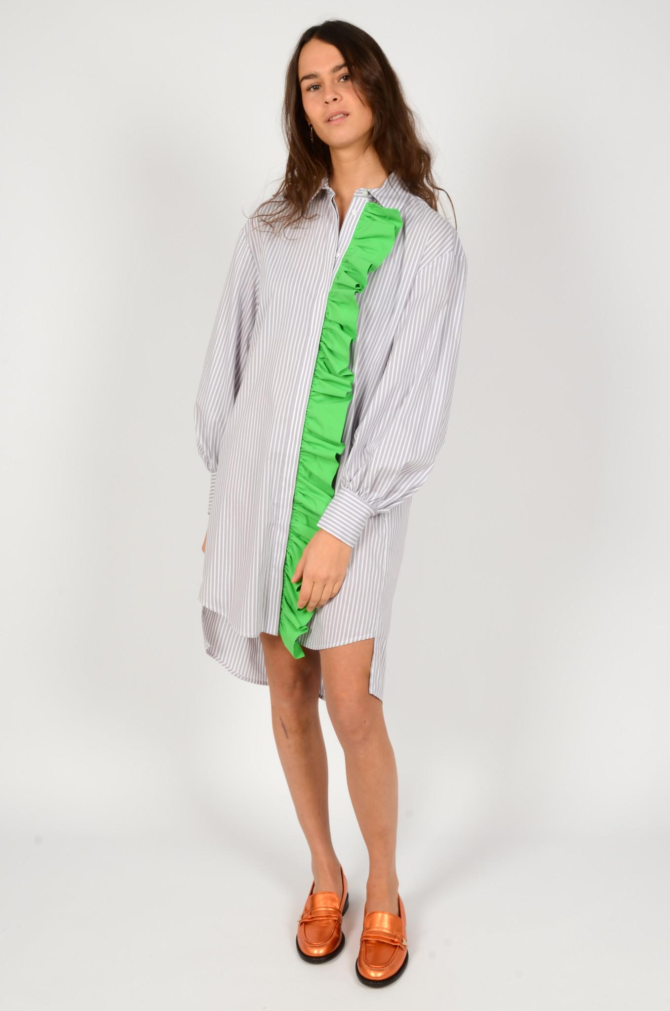 LIGHT GREY STRIPED SHIRT DRESS-5