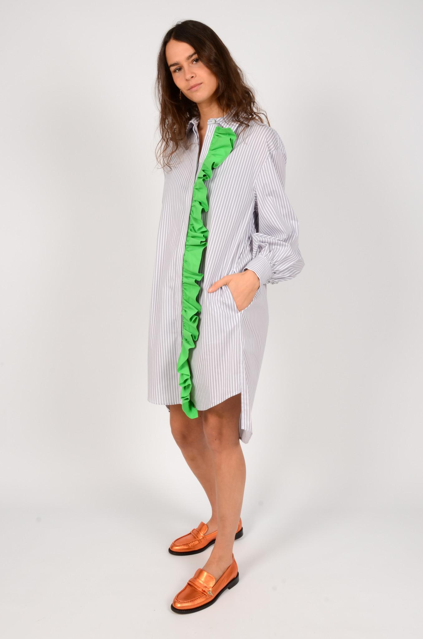 LIGHT GREY STRIPED SHIRT DRESS-6