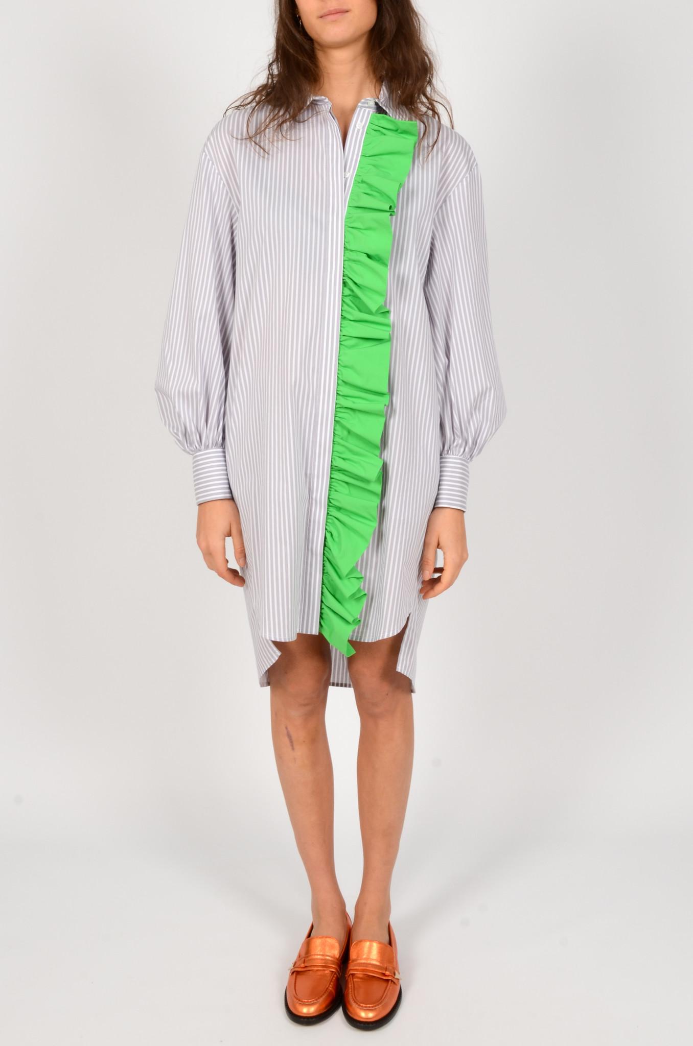 LIGHT GREY STRIPED SHIRT DRESS-1