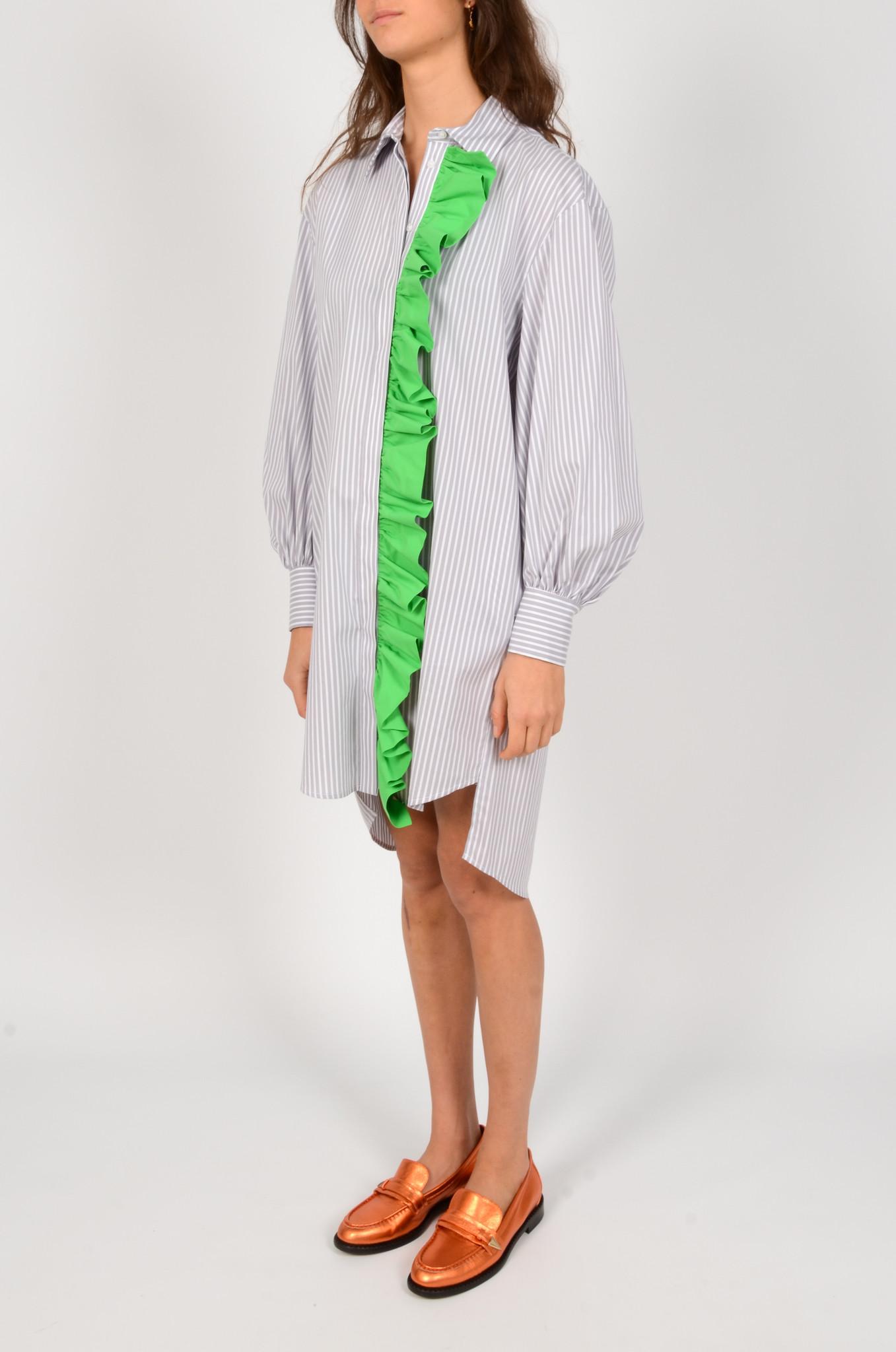LIGHT GREY STRIPED SHIRT DRESS-2