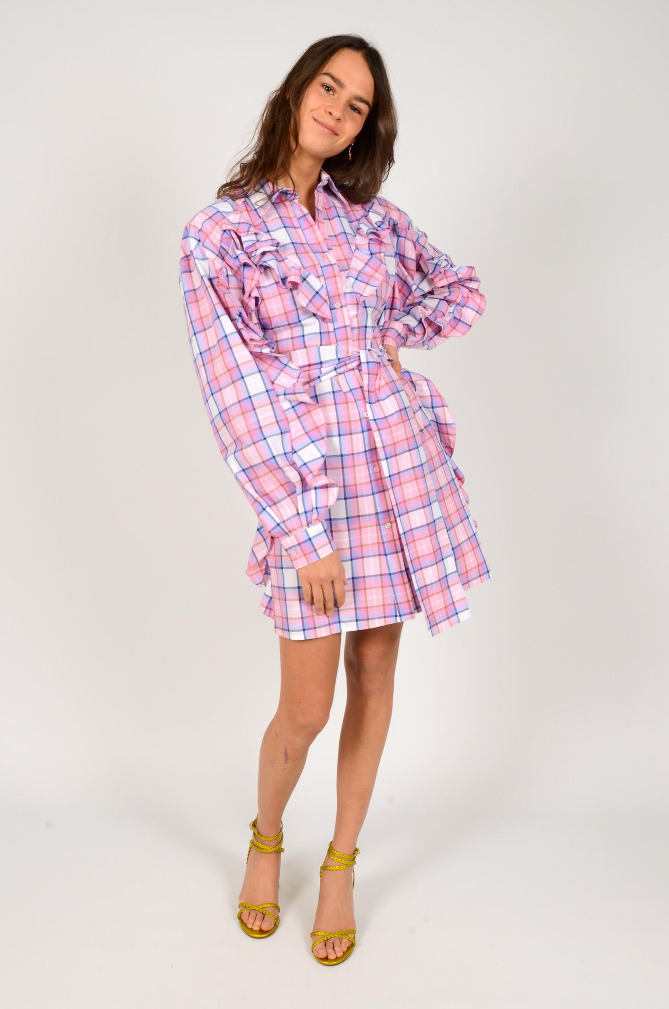 CHECK PRINT SHIRT DRESS-5