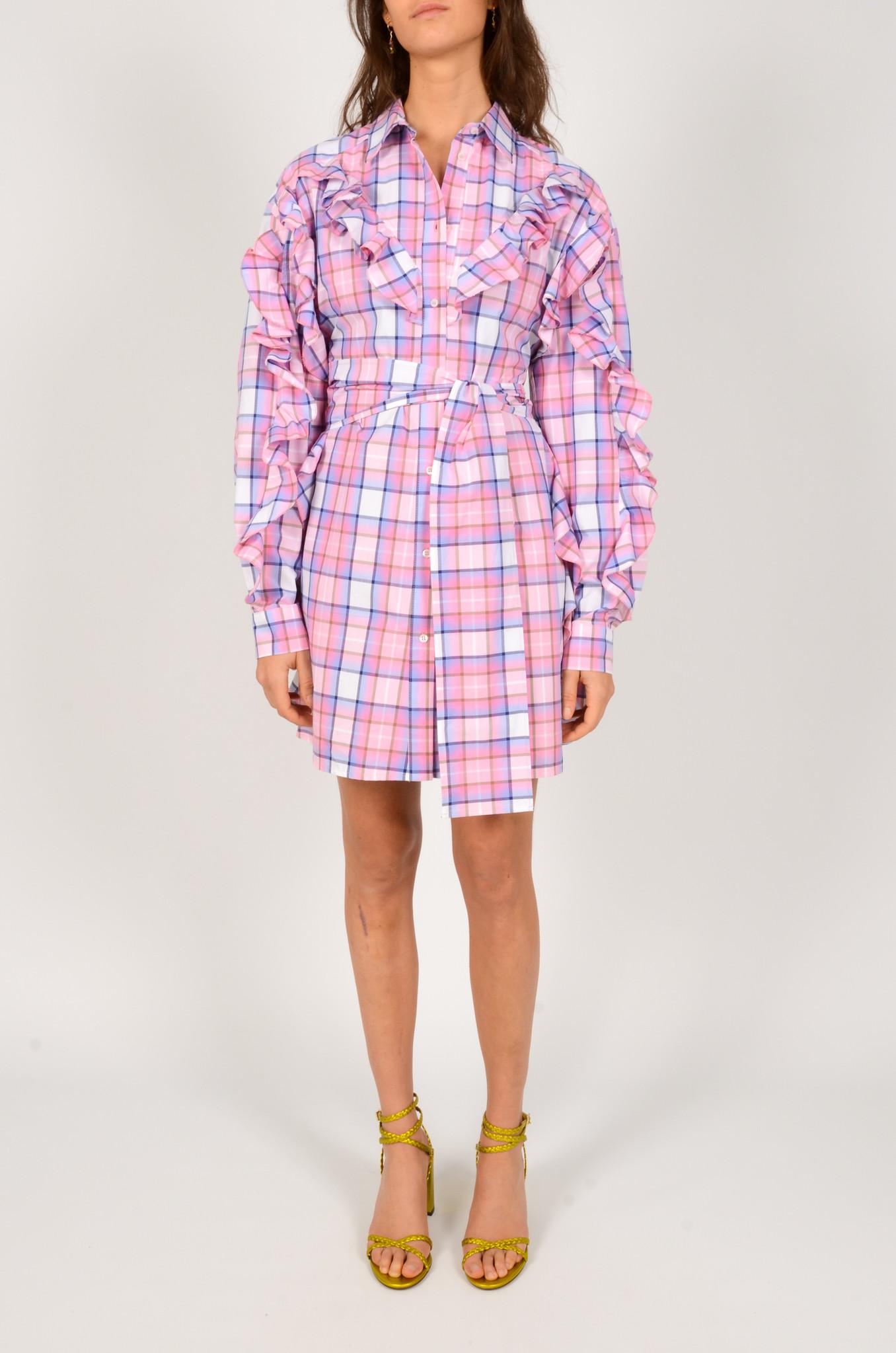 CHECK PRINT SHIRT DRESS-1