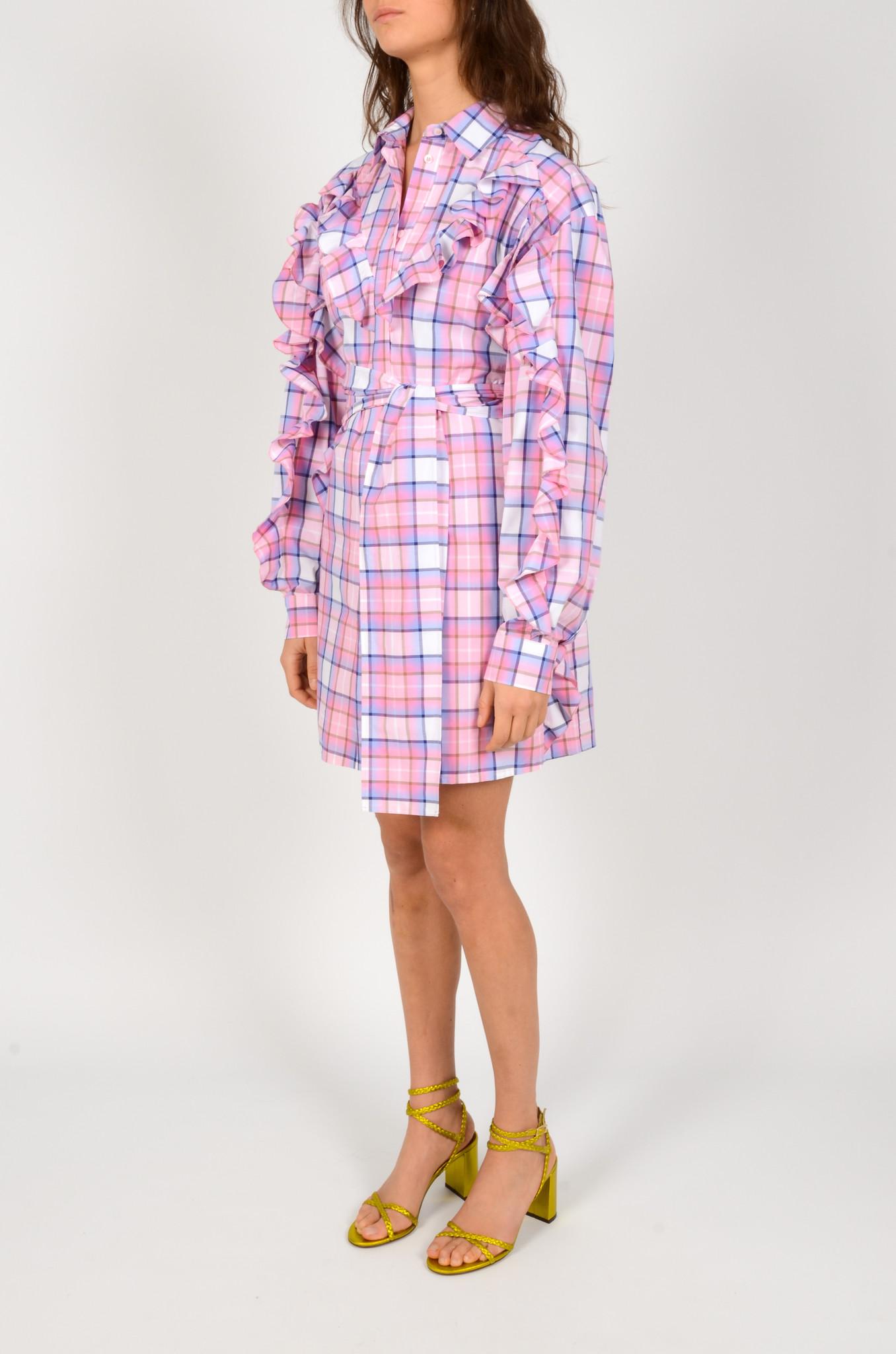 CHECK PRINT SHIRT DRESS-2