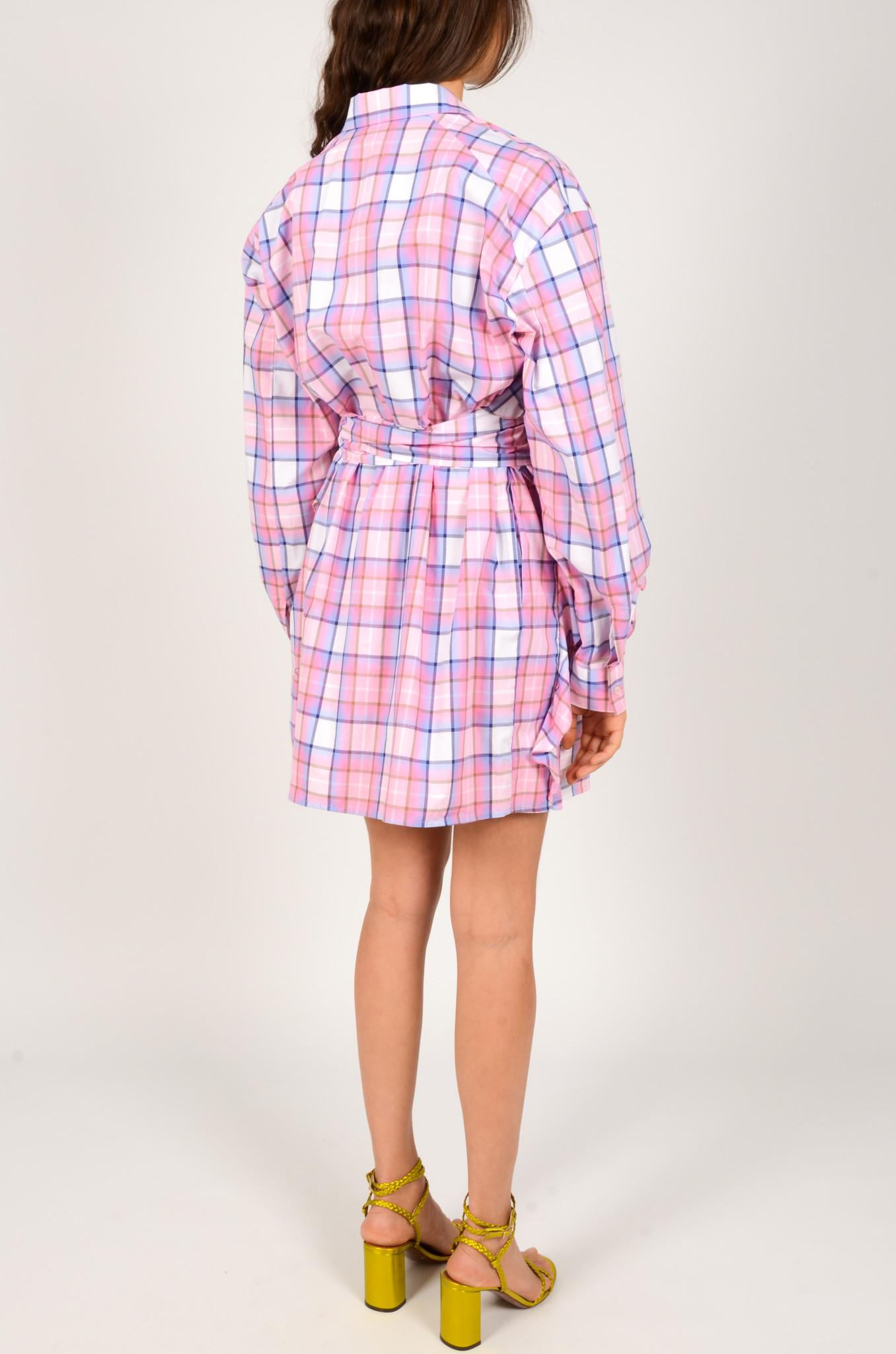 CHECK PRINT SHIRT DRESS-3