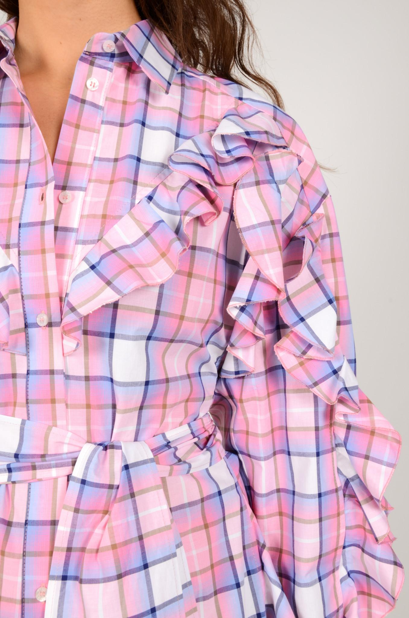 CHECK PRINT SHIRT DRESS-4