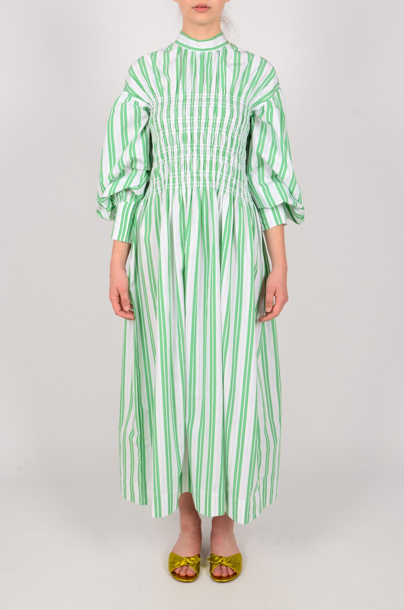 STRIPED LONG SMOCK DRESS-1