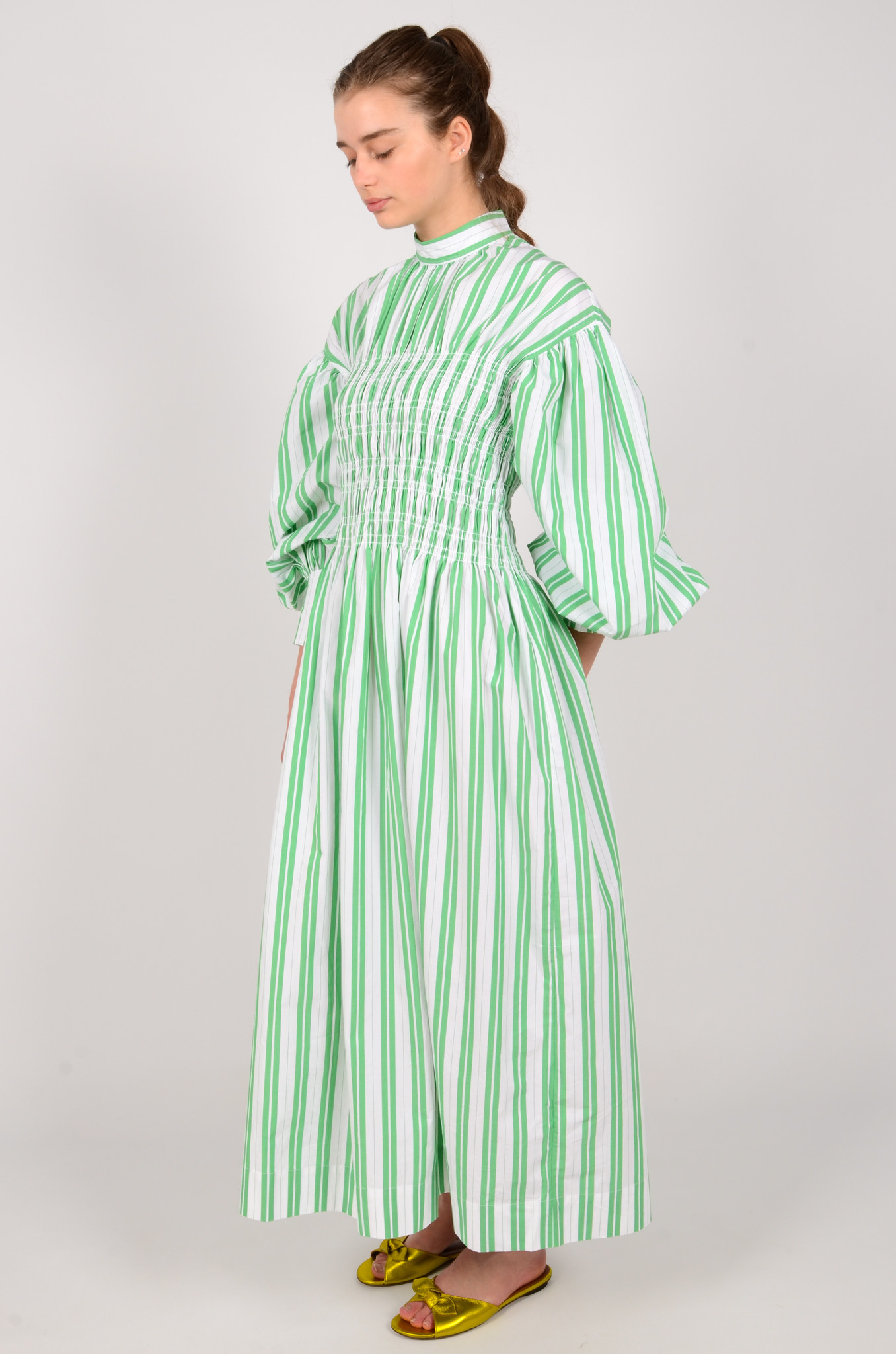 STRIPED LONG SMOCK DRESS-2