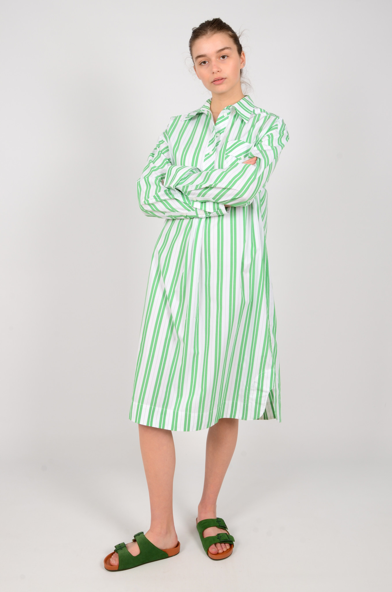 STRIPED OVERSIZED SHIRT DRESS-6