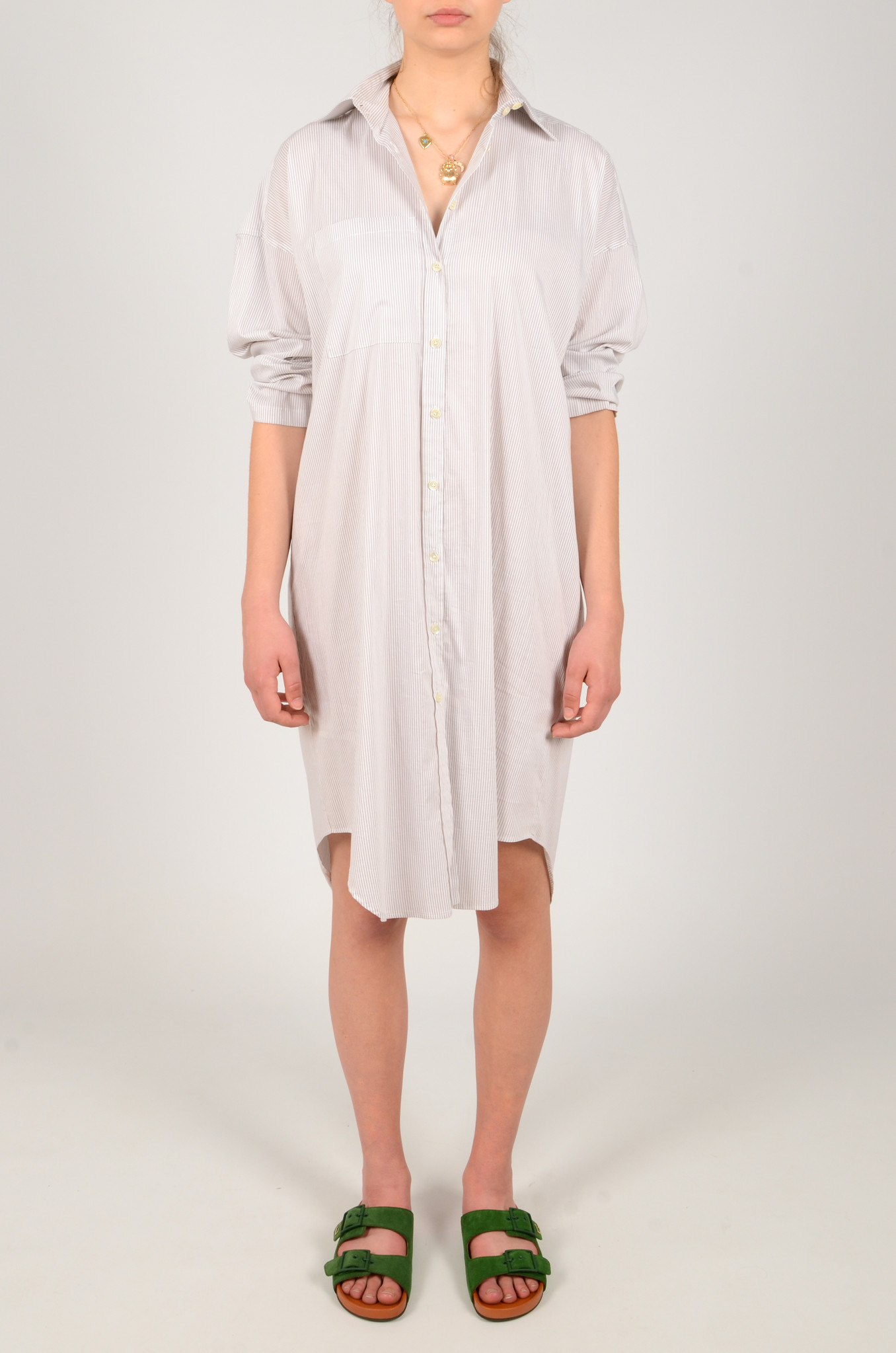 STRIPED SHIRT DRESS-1