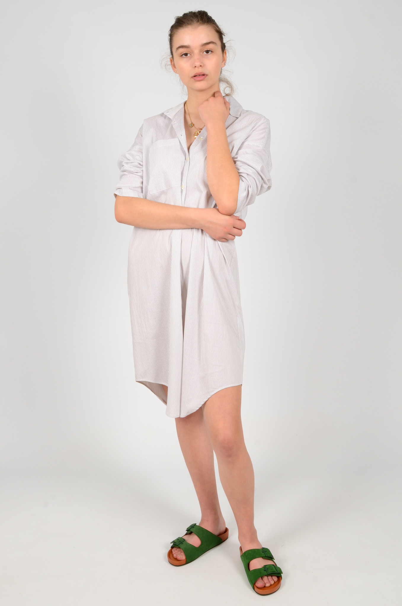 STRIPED SHIRT DRESS-6