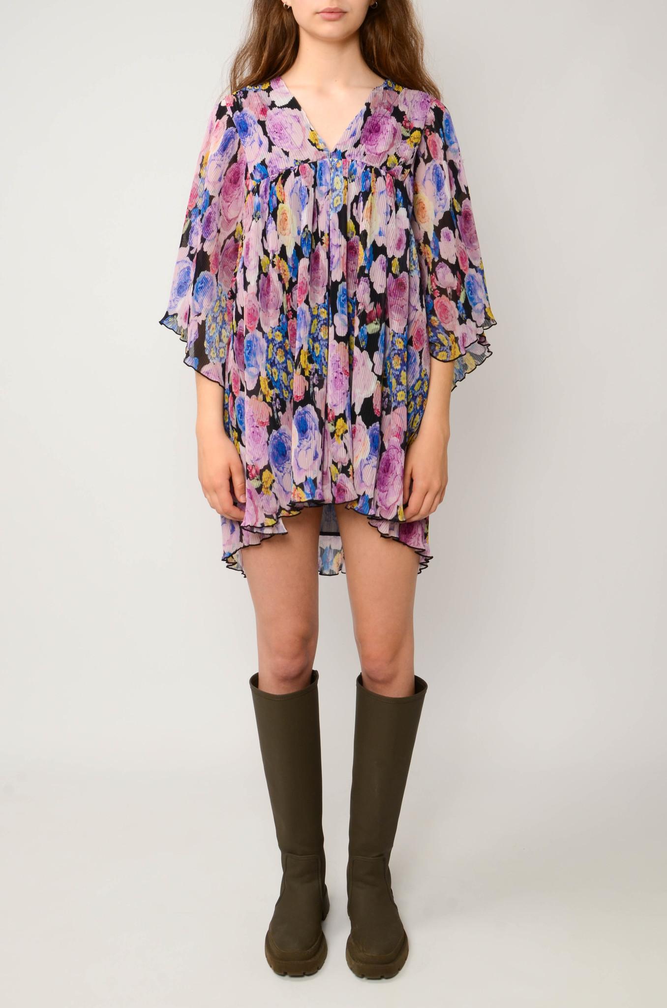 PLEATED GEORGETTE FLOWER MINI DRESS-1