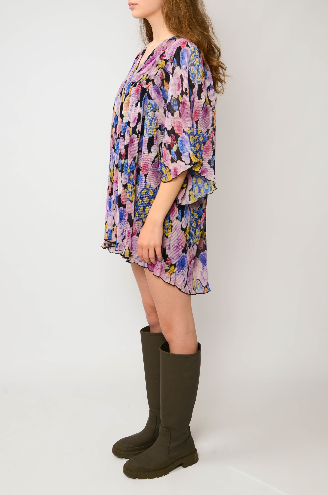 PLEATED GEORGETTE FLOWER MINI DRESS-3