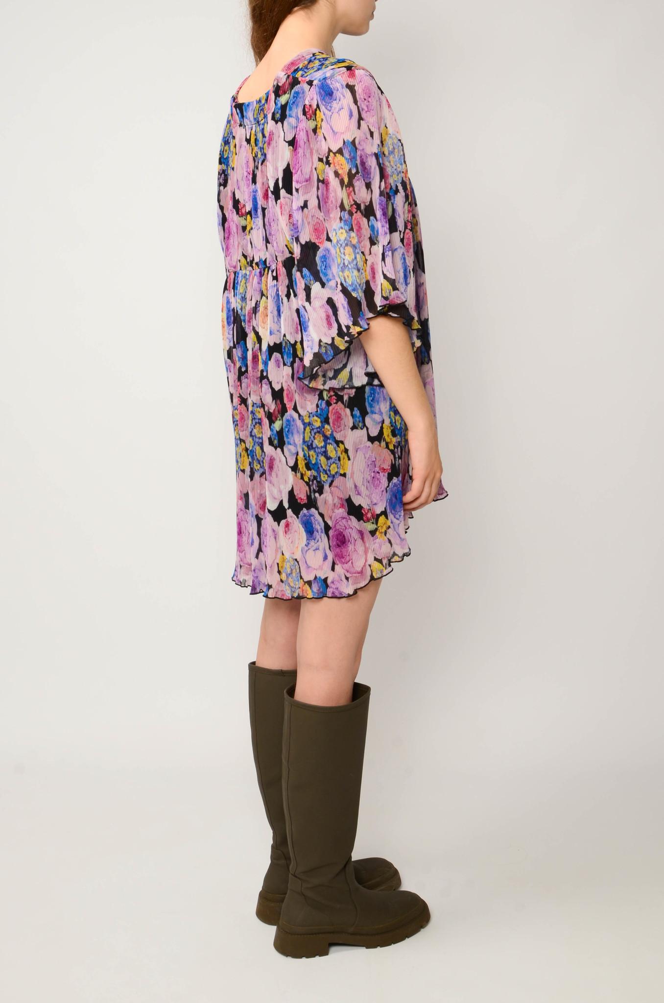 PLEATED GEORGETTE FLOWER MINI DRESS-4