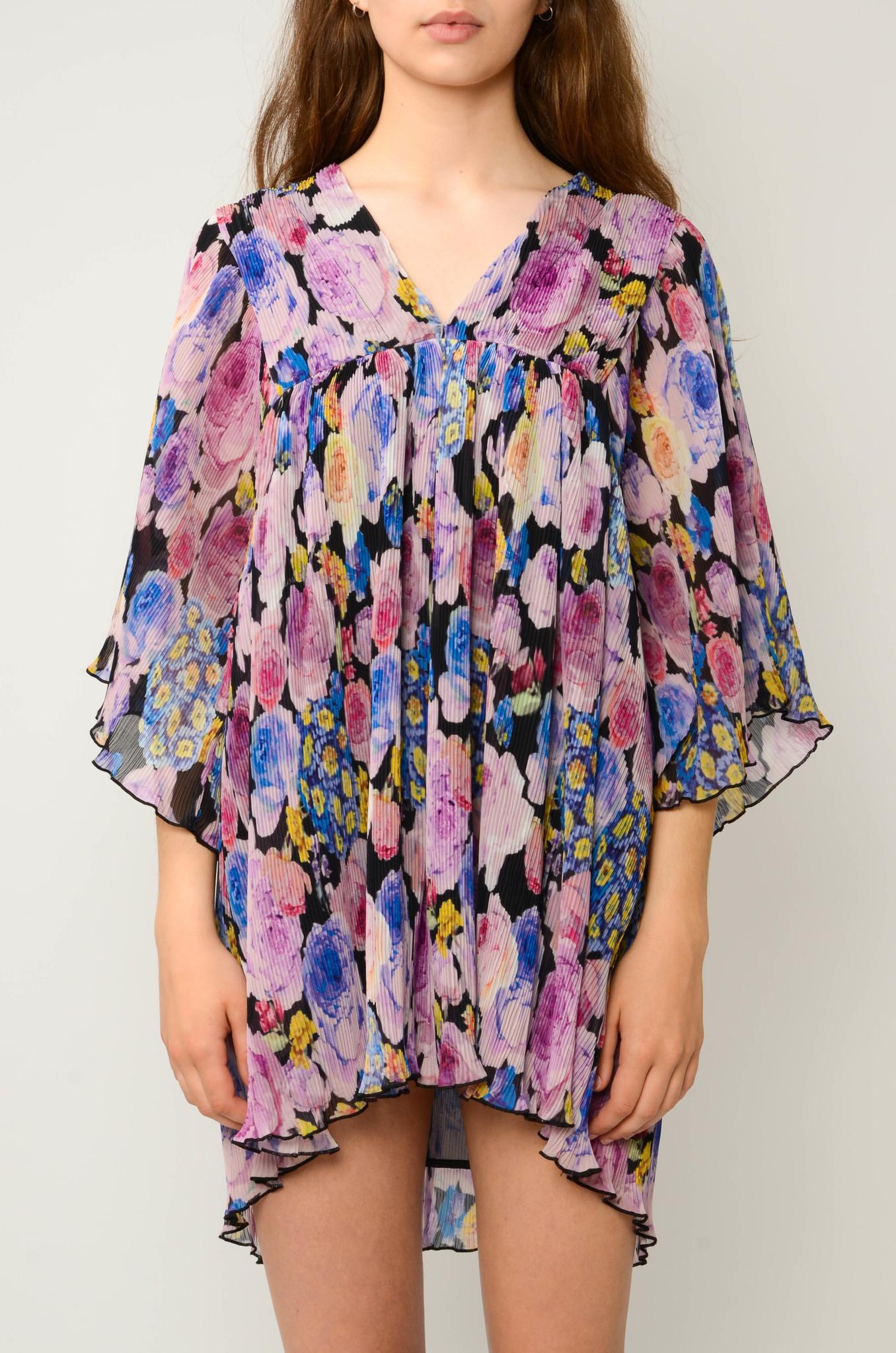 PLEATED GEORGETTE FLOWER MINI DRESS-6