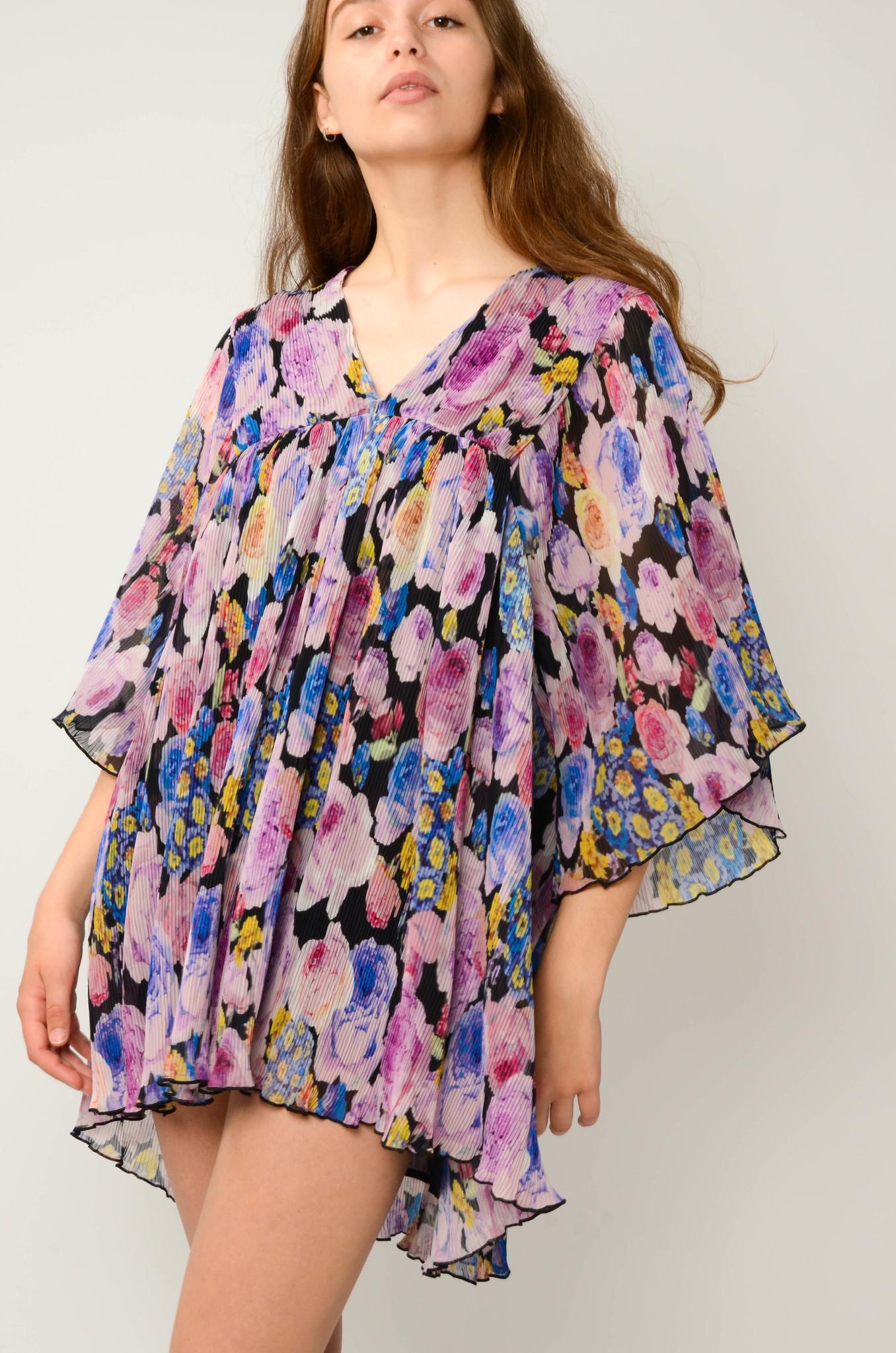 PLEATED GEORGETTE FLOWER MINI DRESS-2