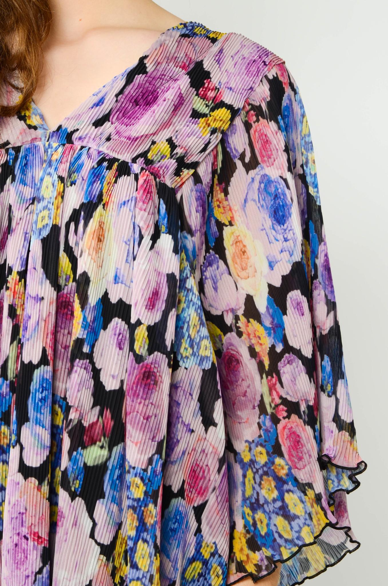 PLEATED GEORGETTE FLOWER MINI DRESS-5