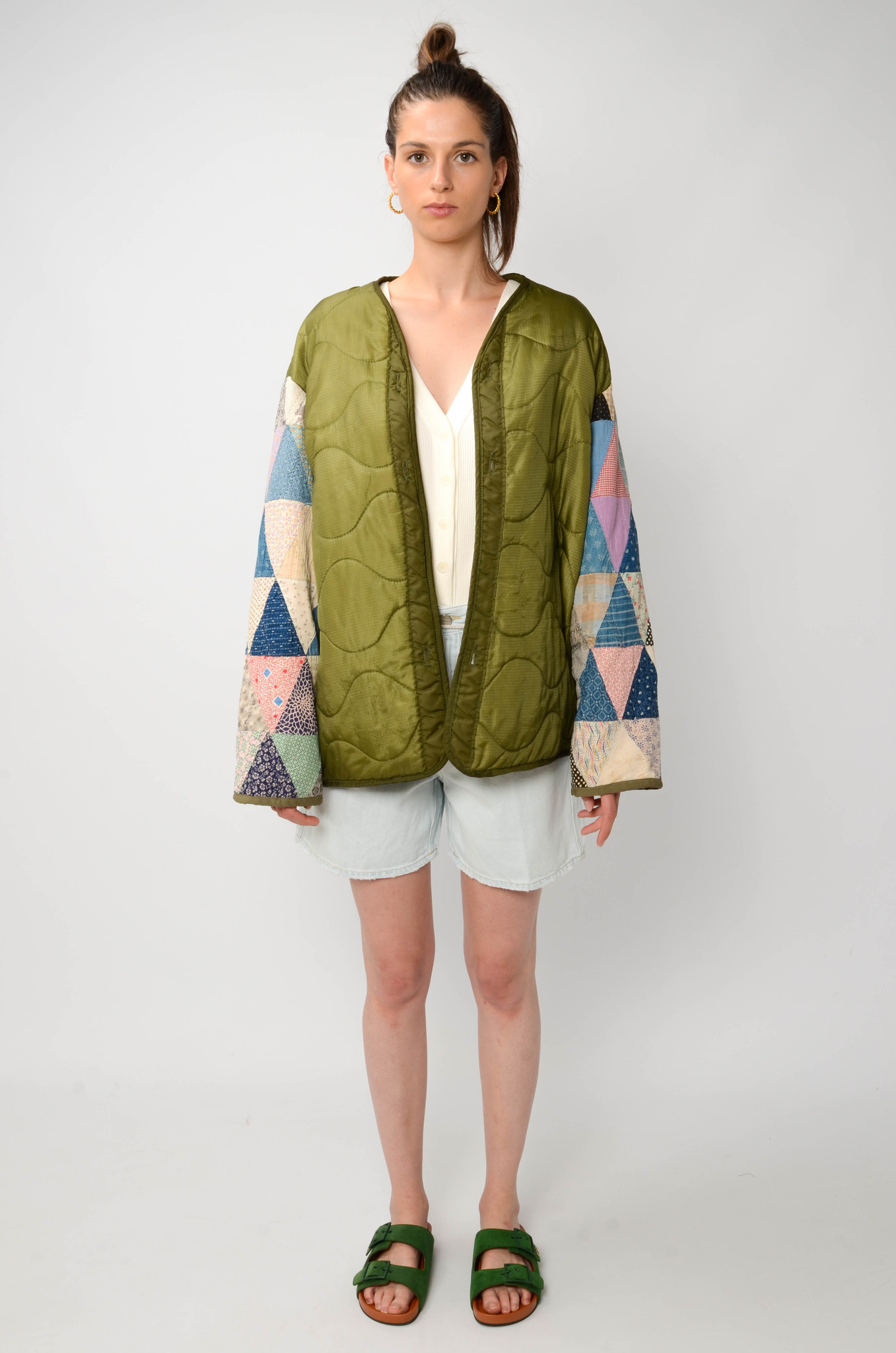 UPCYCLED QUILTED  JACK WITH PATCHWORK SLEEVES-7