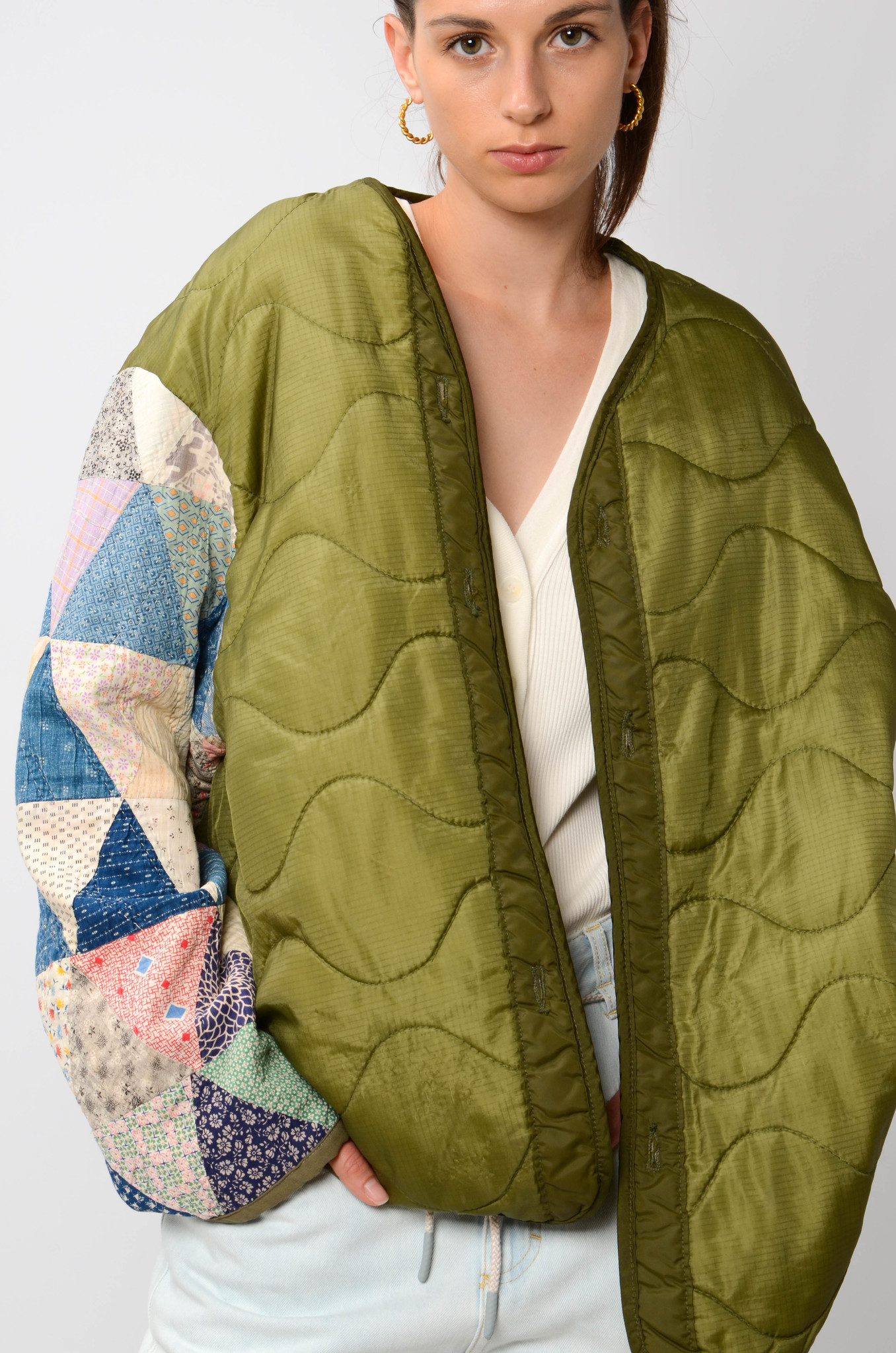 UPCYCLED QUILTED  JACK WITH PATCHWORK SLEEVES-6
