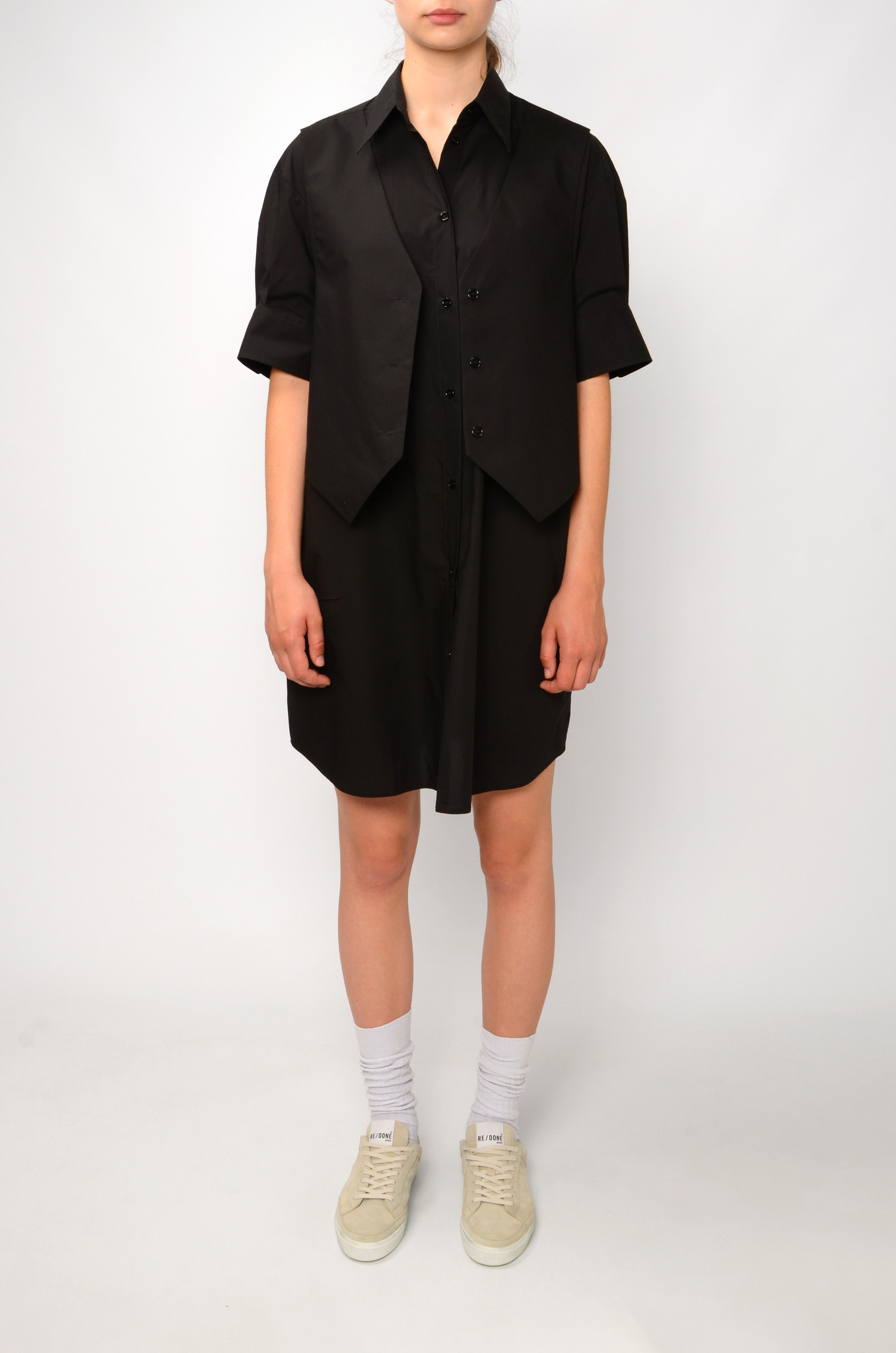 WAISTCOAT SHIRT DRESS IN BLACK-1