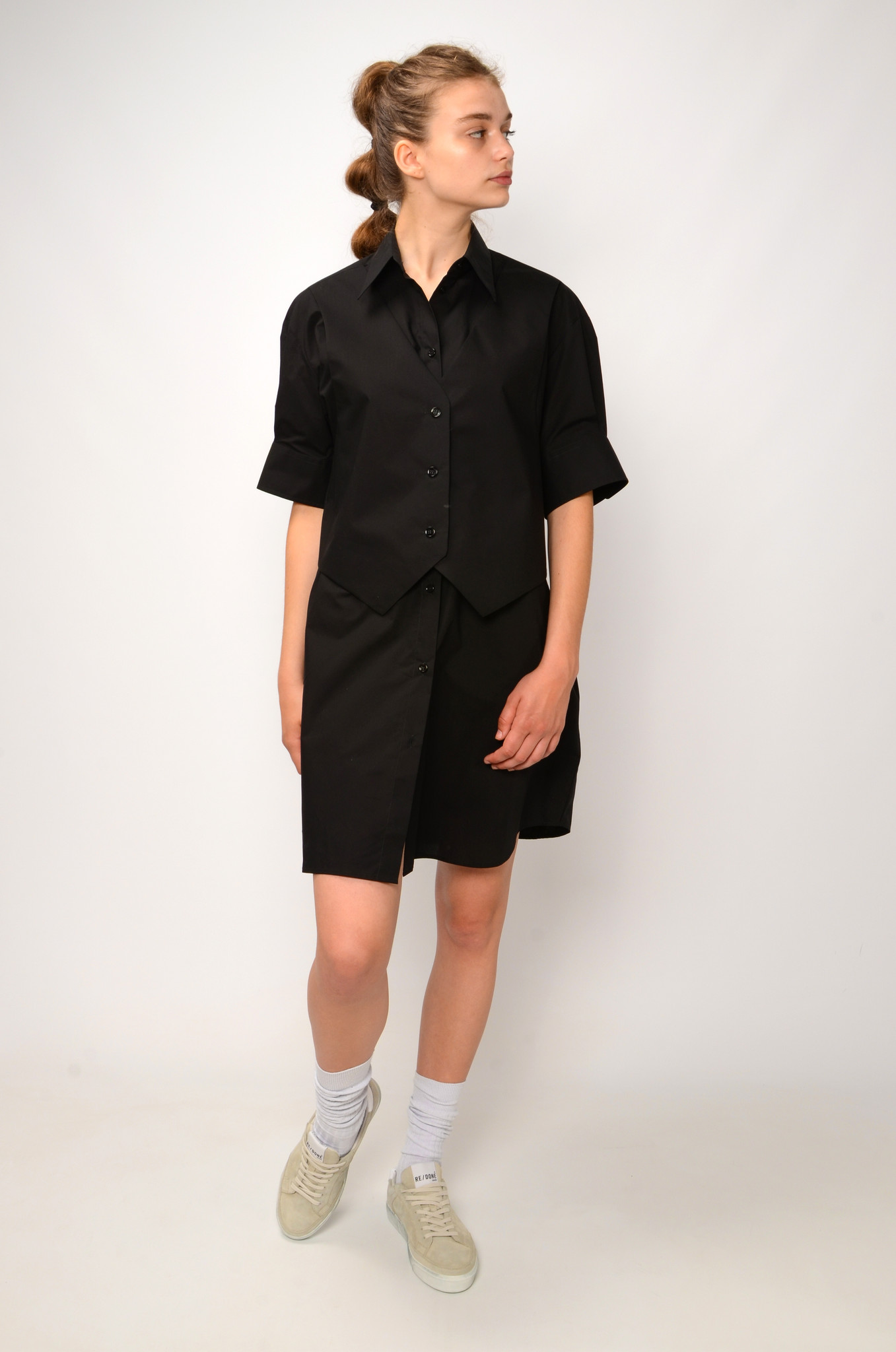 WAISTCOAT SHIRT DRESS IN BLACK-2