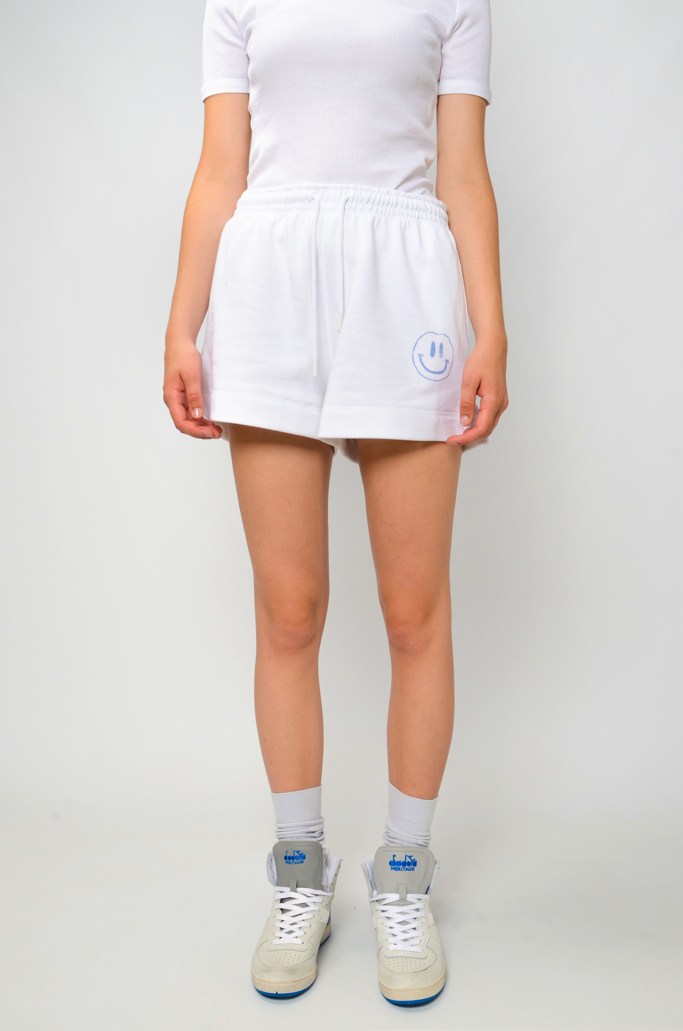 SMILEY SWEAT SHORTS IN HEATHER-1