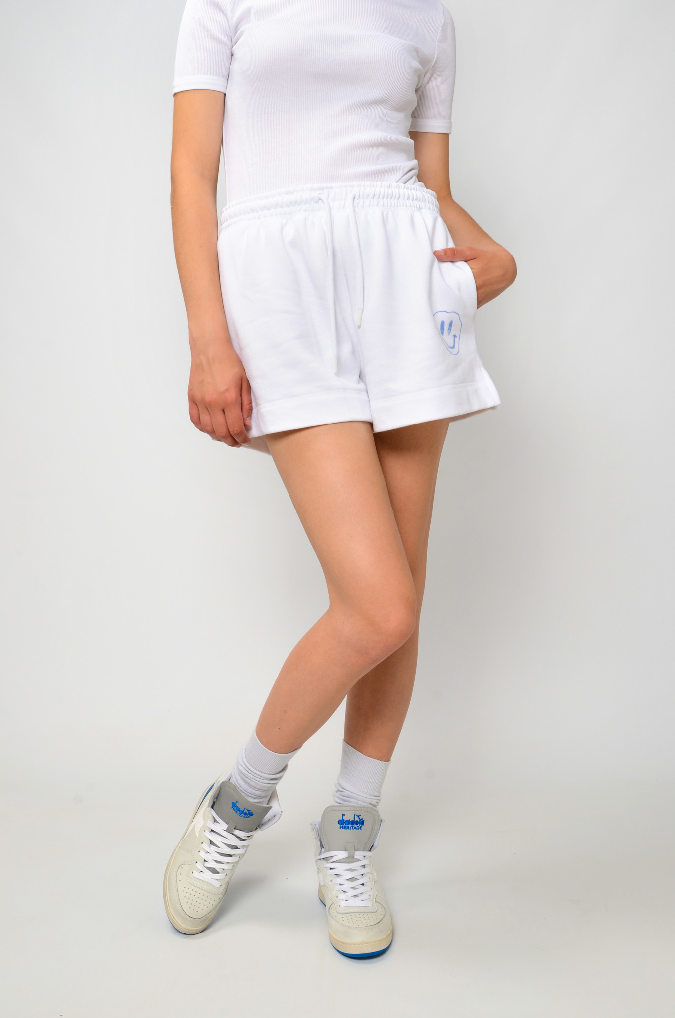 SMILEY SWEAT SHORTS IN HEATHER-6