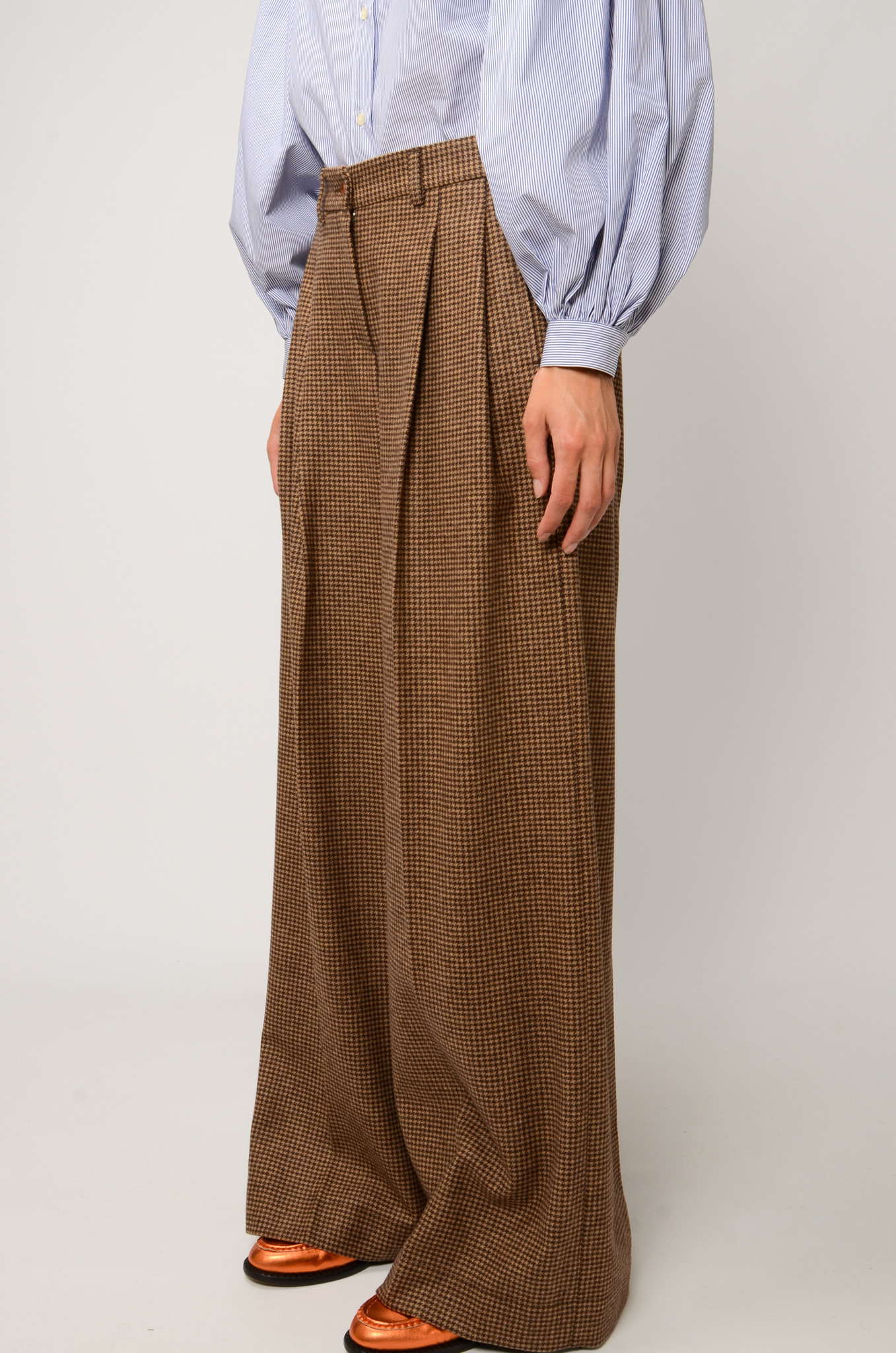 KATHERINE PANTS IN CHECKERED WOOL-3