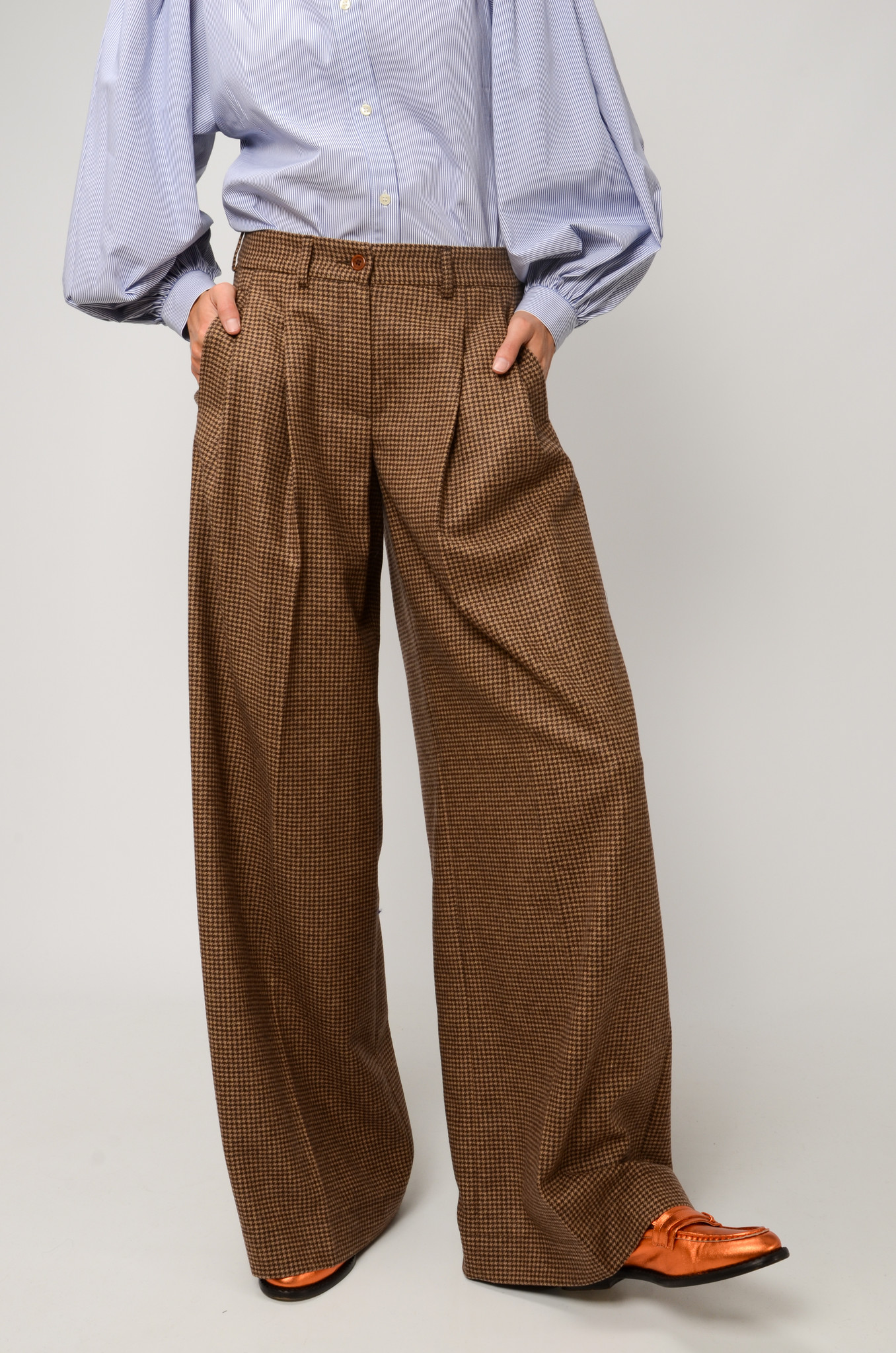 KATHERINE PANTS IN CHECKERED WOOL-5
