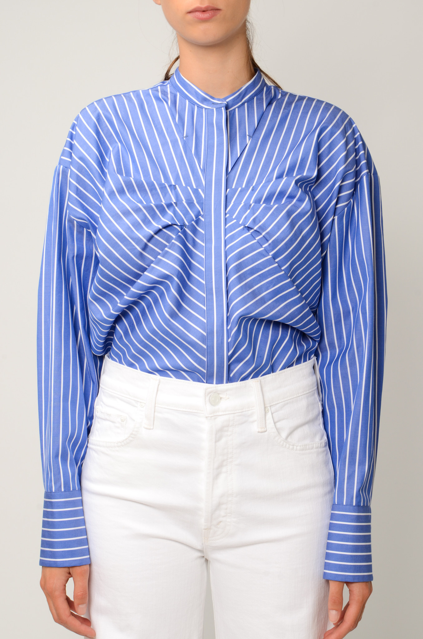 STRIPED GATHERED BLOUSE-1