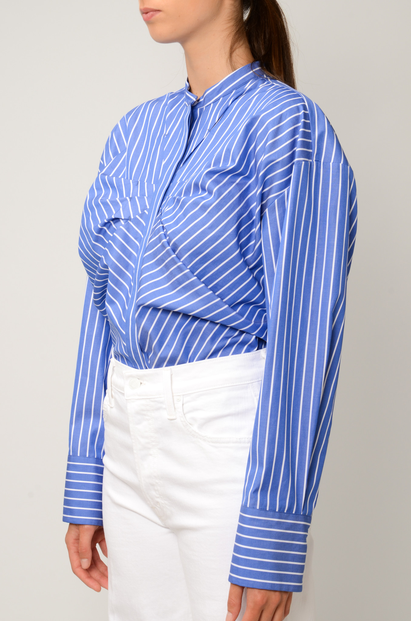 STRIPED GATHERED BLOUSE-3