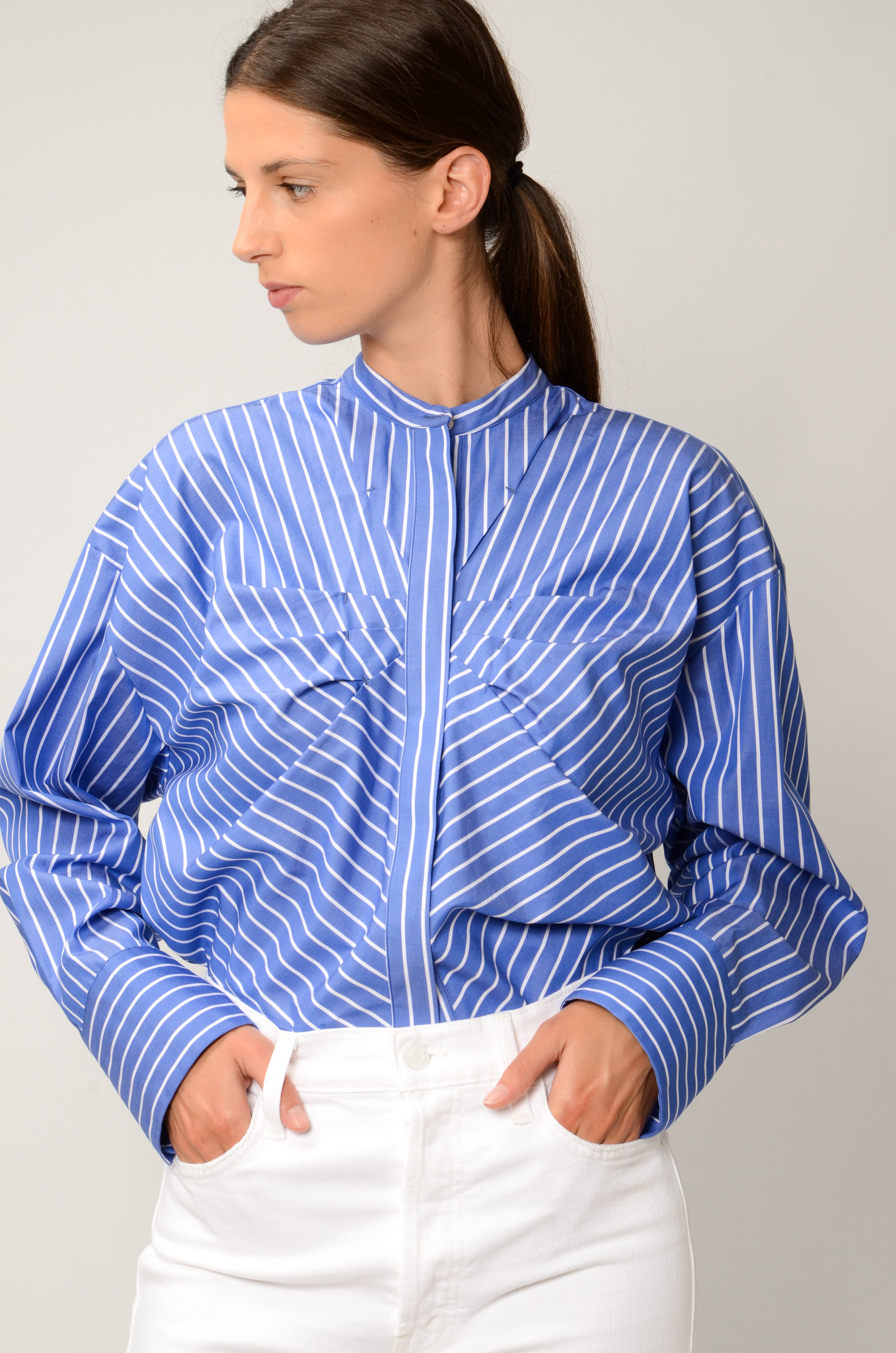 STRIPED GATHERED BLOUSE-2