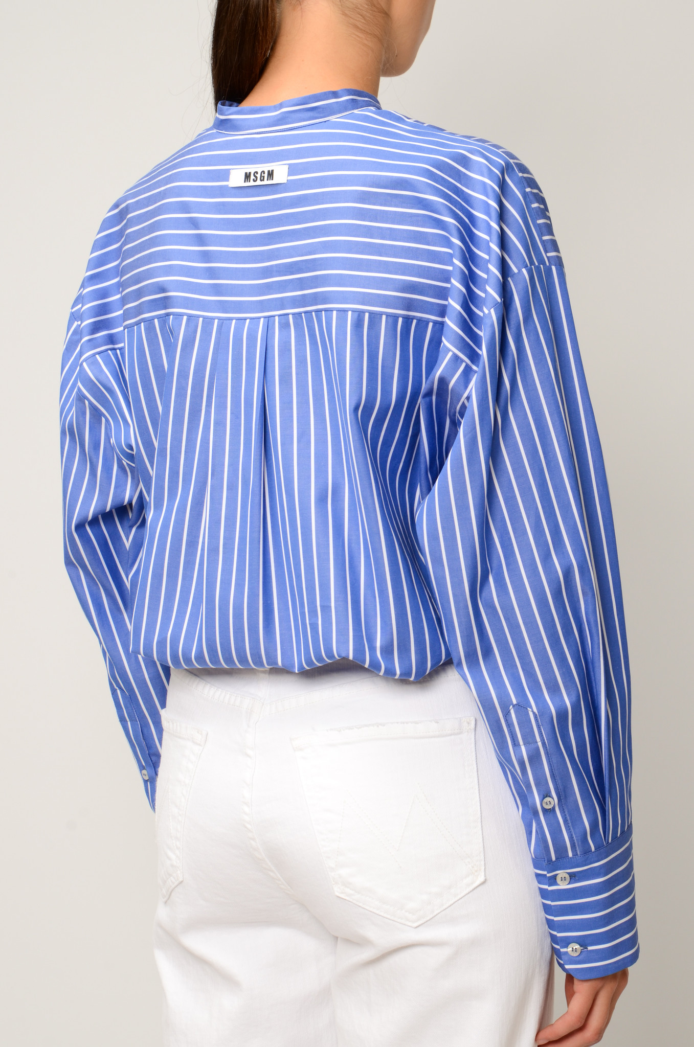 STRIPED GATHERED BLOUSE-4
