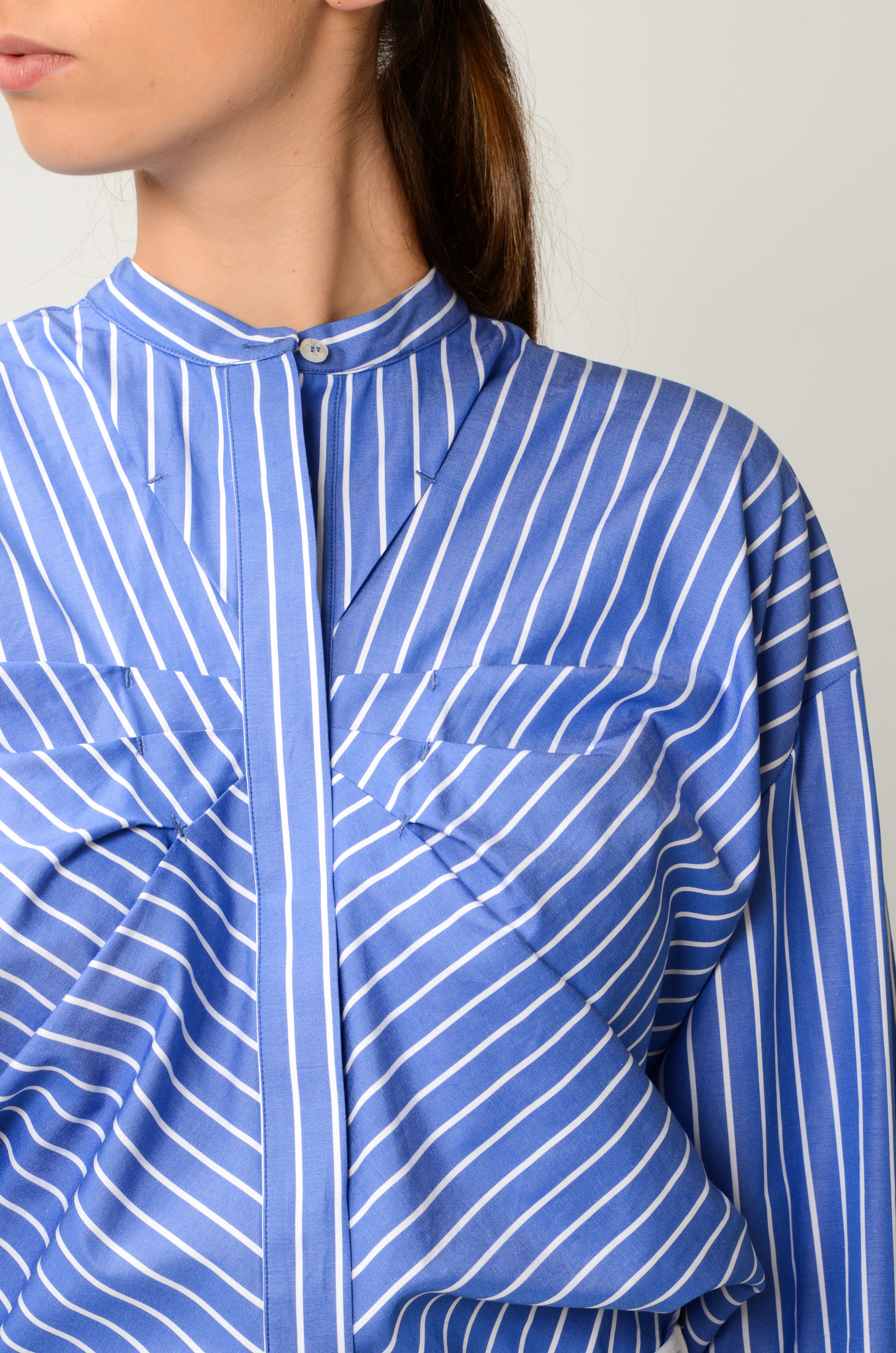 STRIPED GATHERED BLOUSE-5