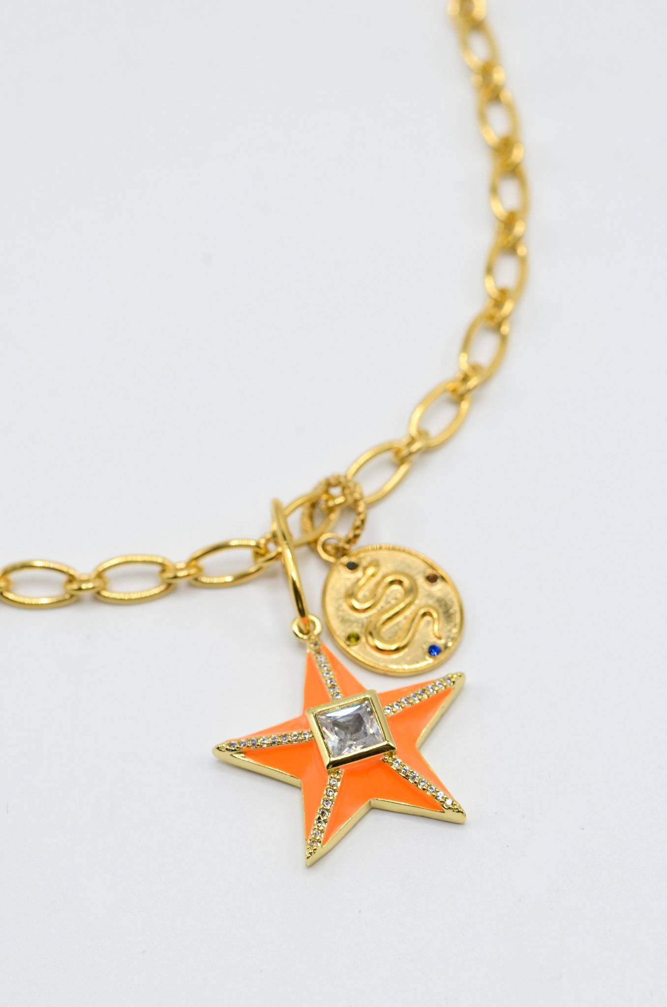 STAR NECKLACE IN NEON ORANGE-1