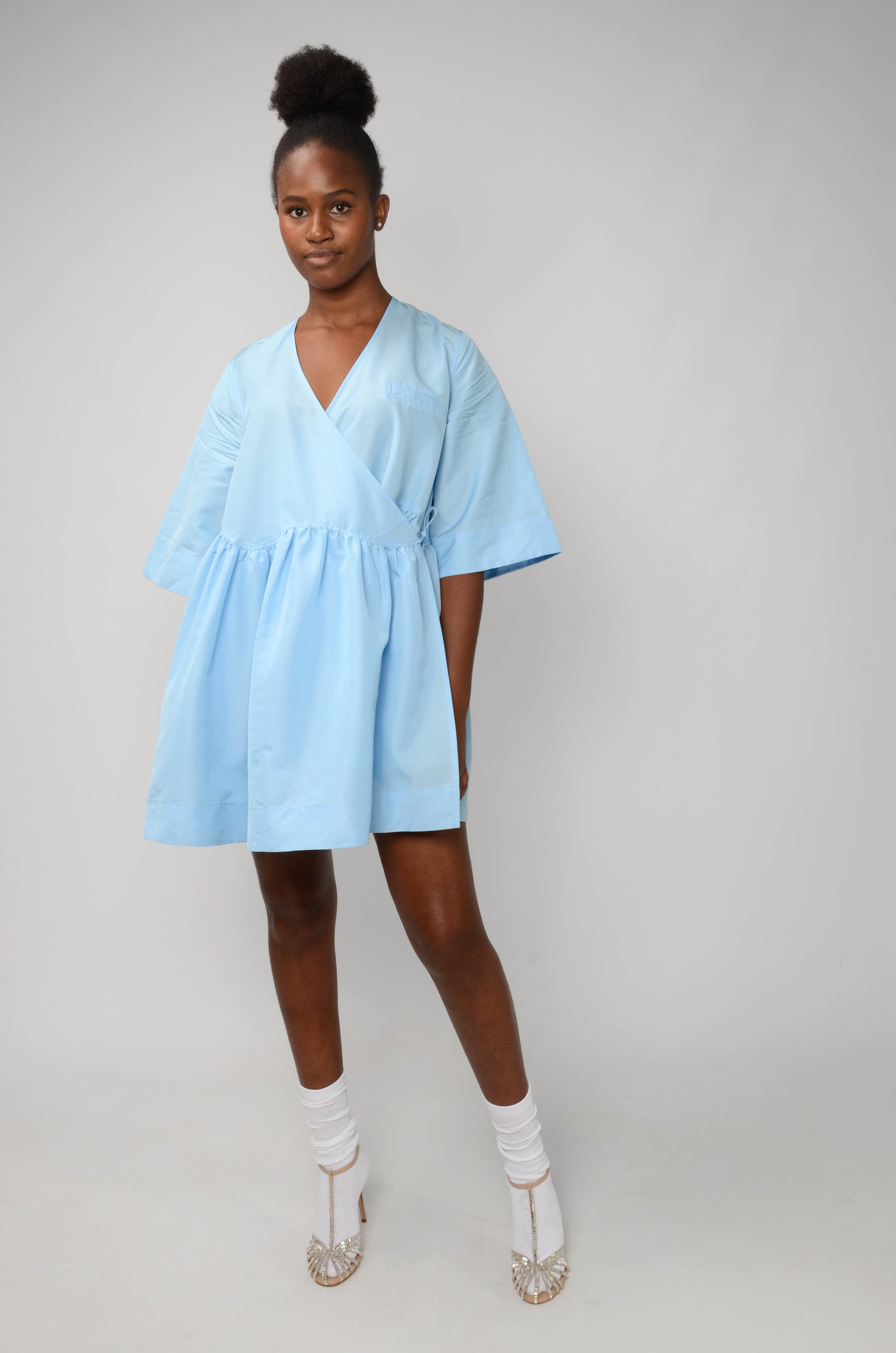 MINI WRAP DRESS IN BLUE TAFETTA-2