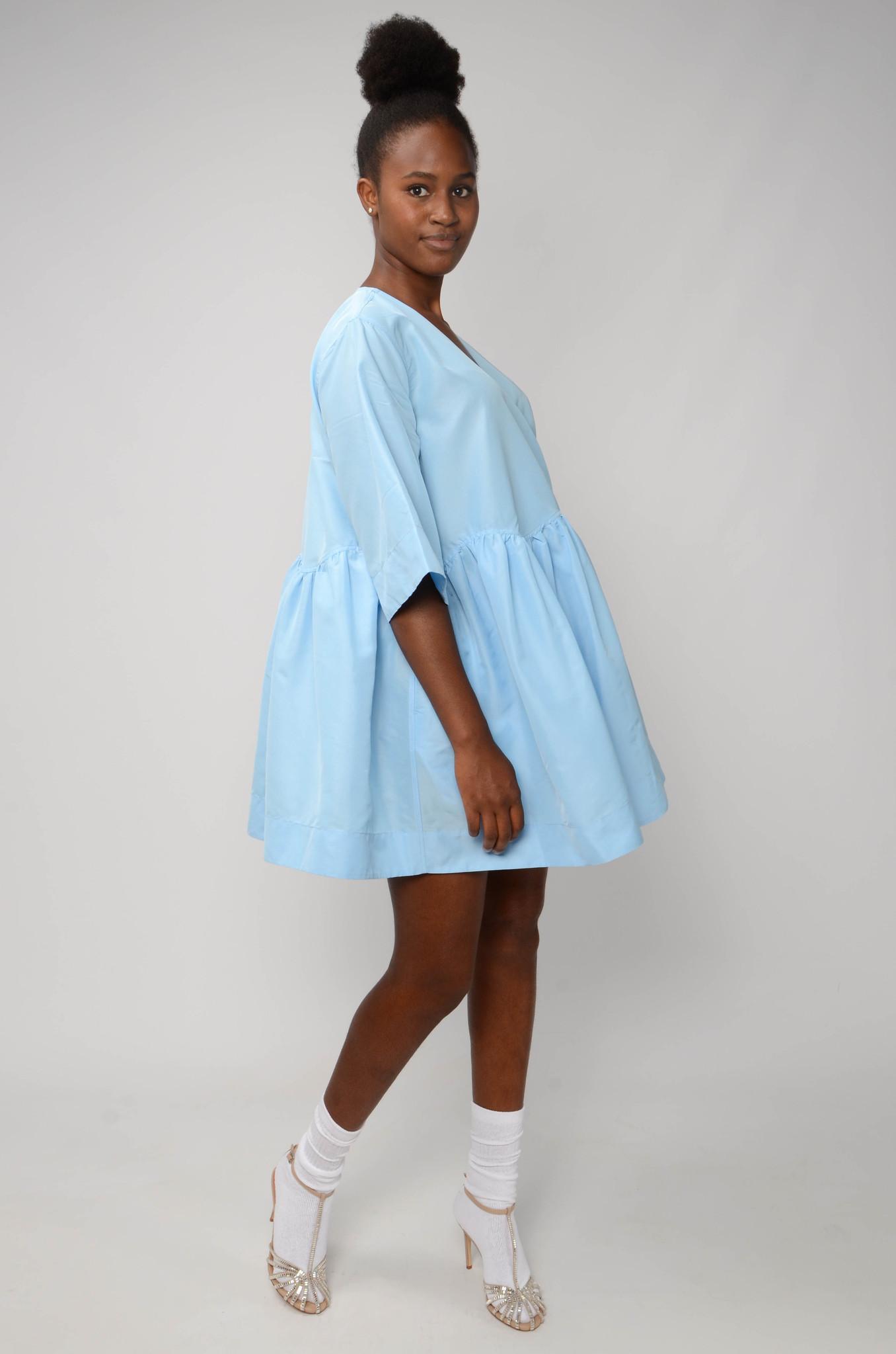 MINI WRAP DRESS IN BLUE TAFETTA-5
