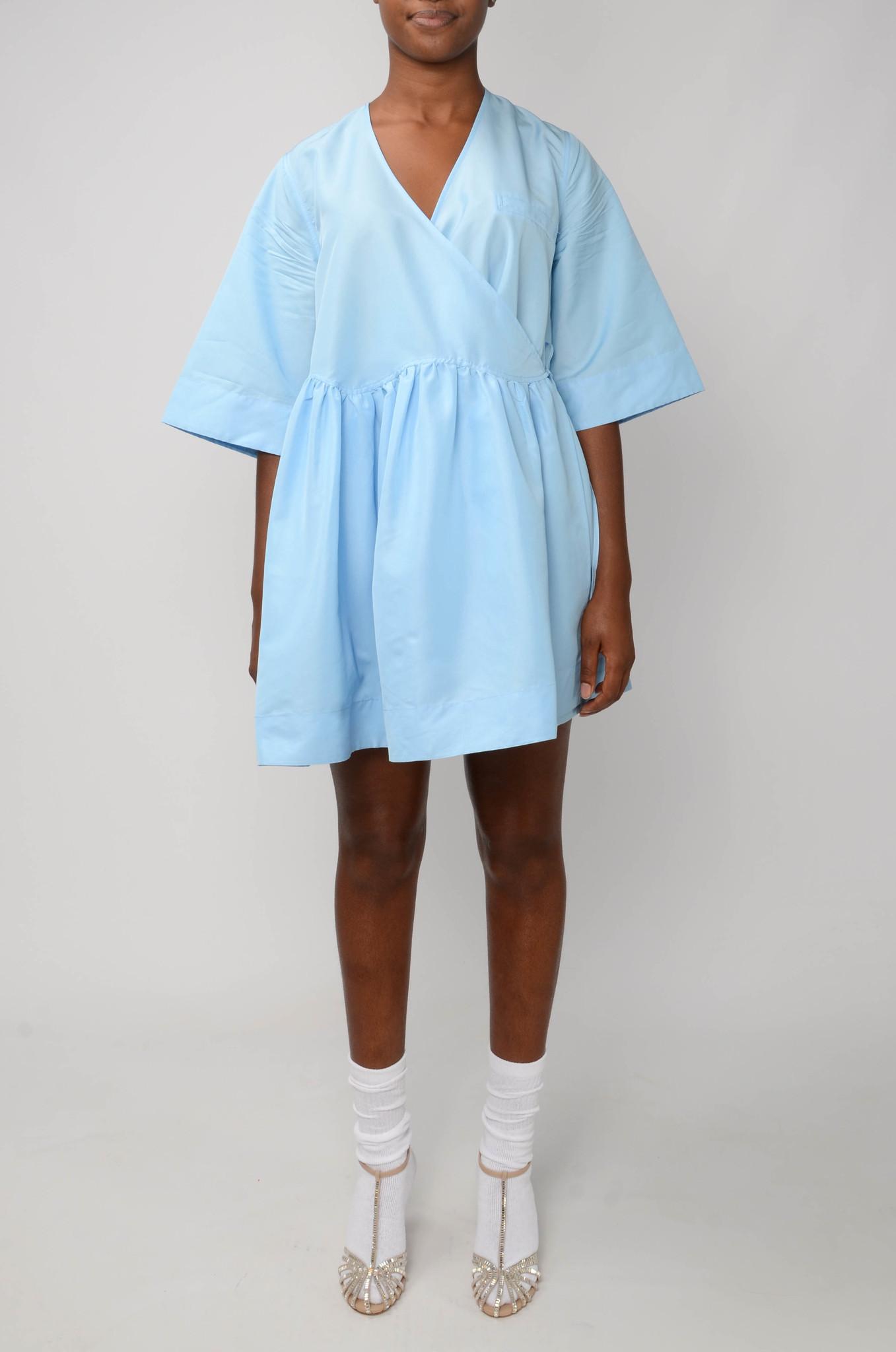 MINI WRAP DRESS IN BLUE TAFETTA-1