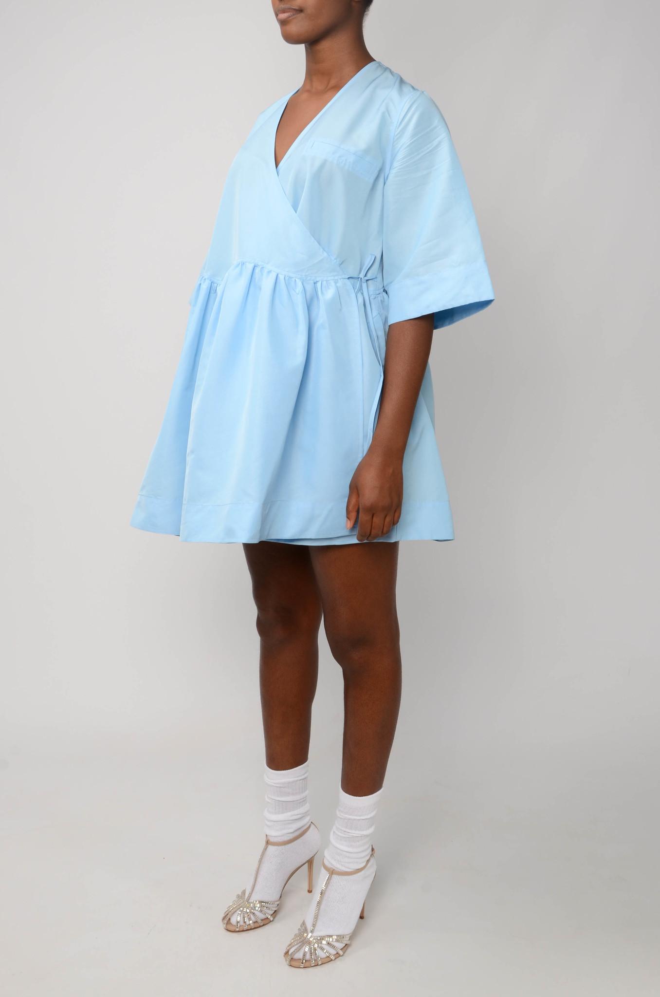 MINI WRAP DRESS IN BLUE TAFETTA-3