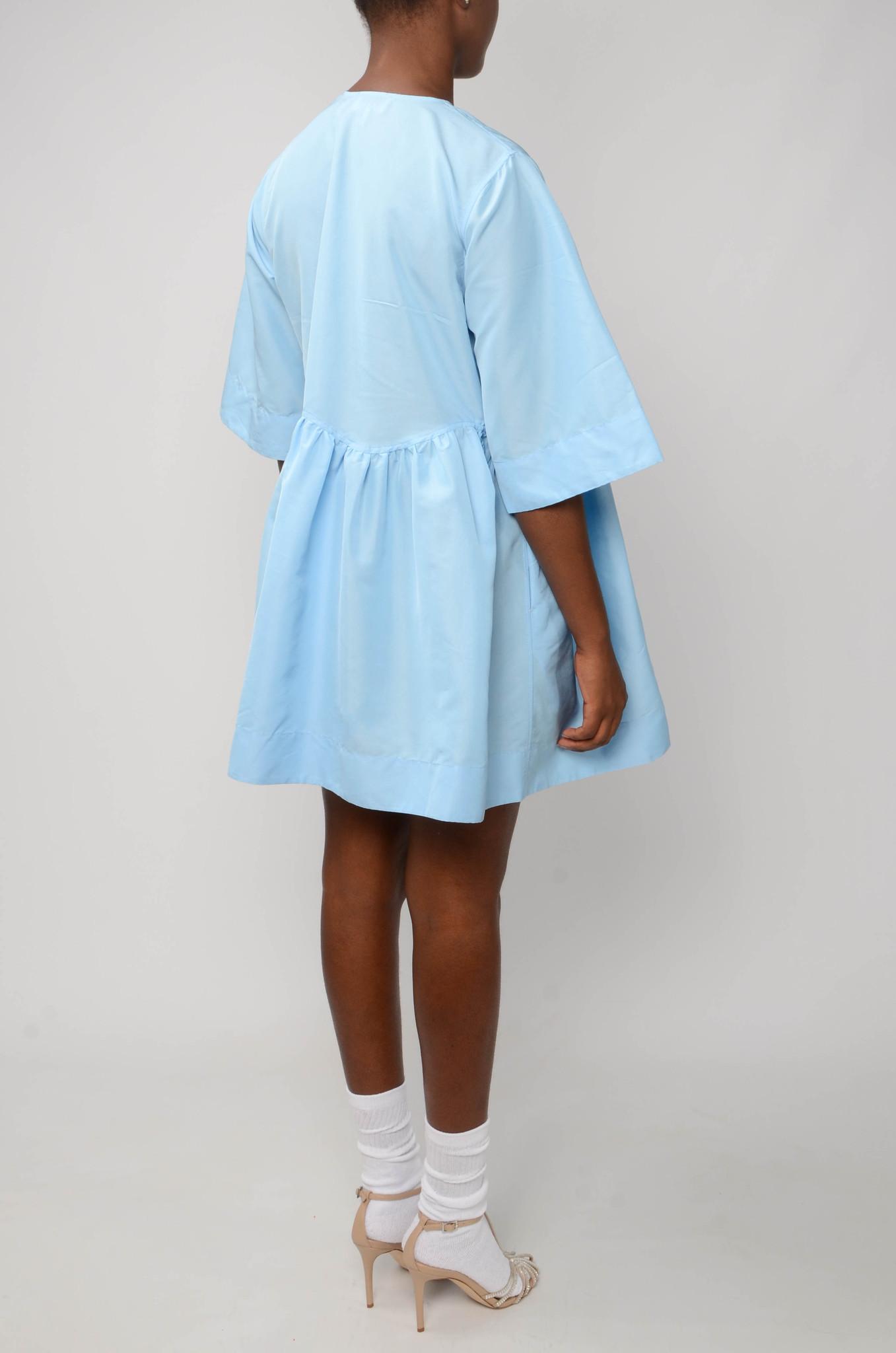 MINI WRAP DRESS IN BLUE TAFETTA-4