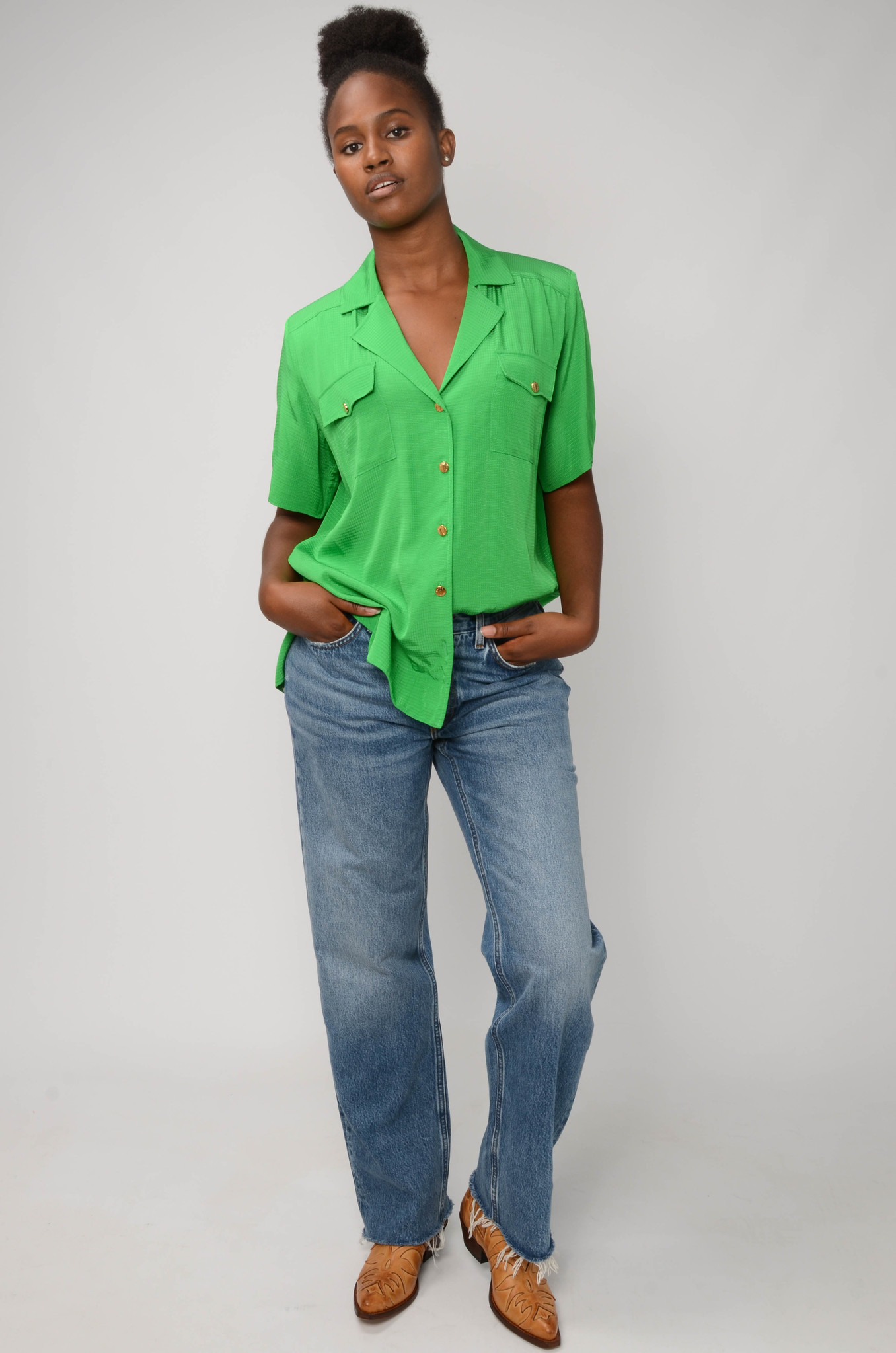 RIPSTOP SHIRT IN KELLY GREEN-2