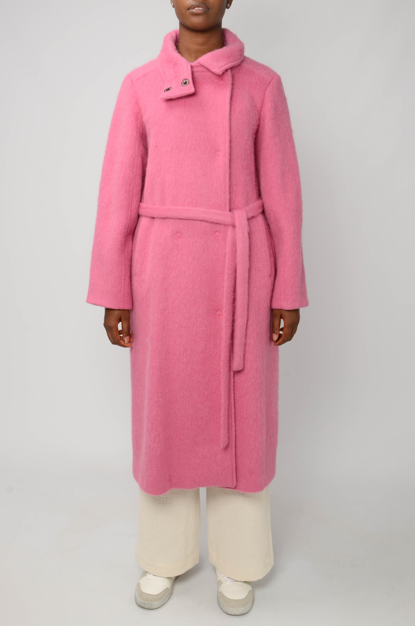 LONG BELTED COAT IN BRIGHT PINK-1