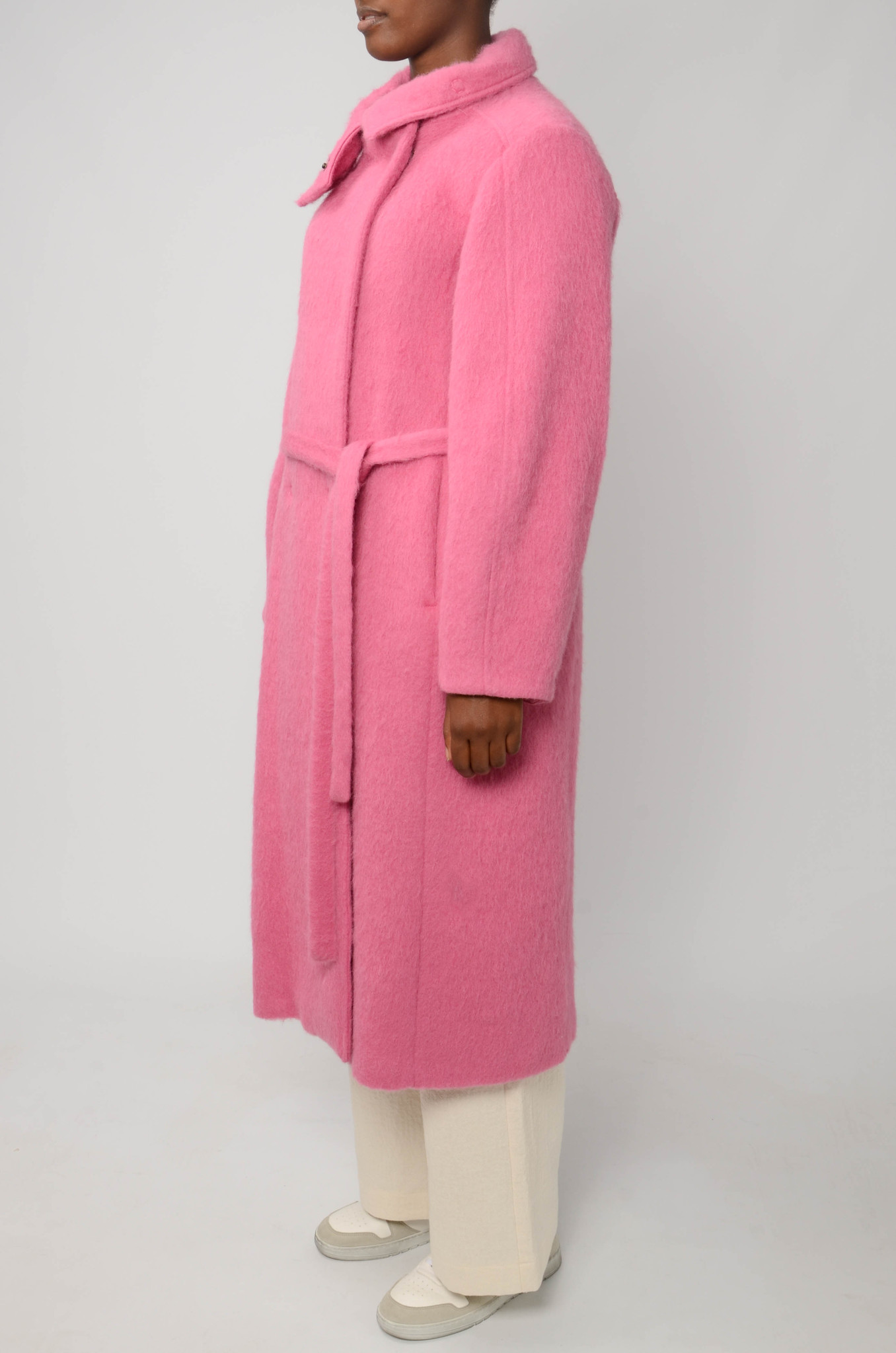 LONG BELTED COAT IN BRIGHT PINK-3