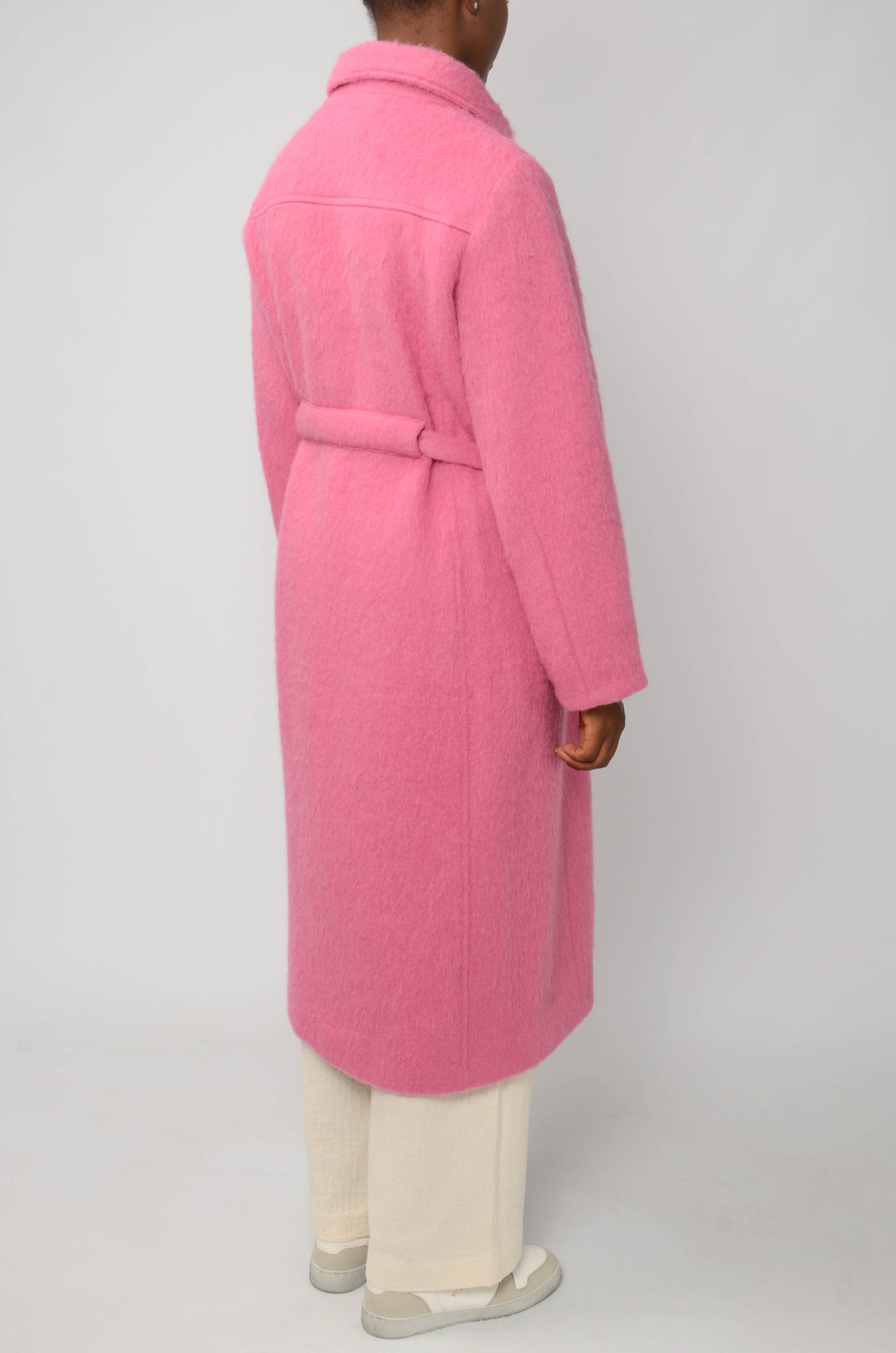 LONG BELTED COAT IN BRIGHT PINK-4