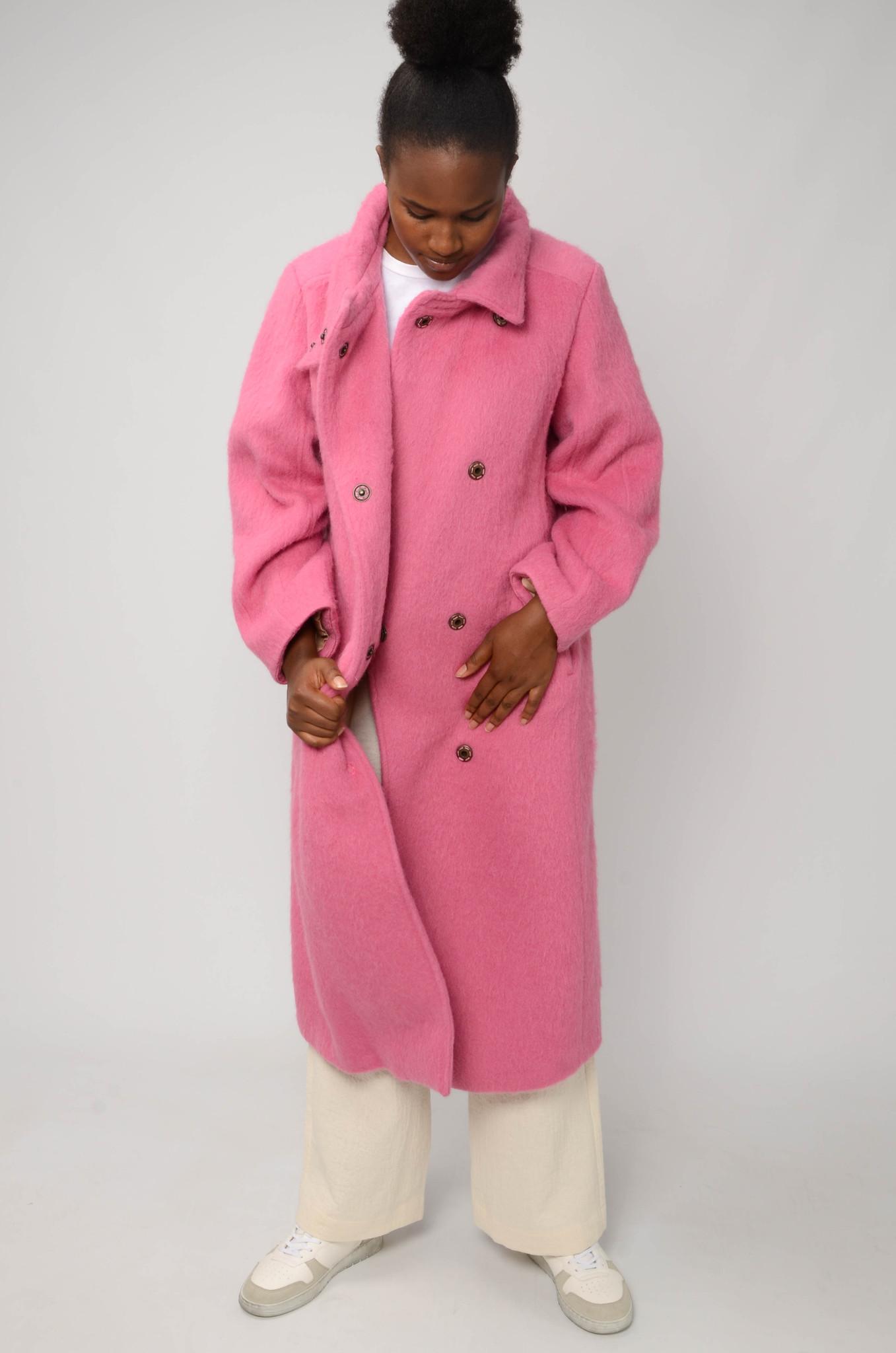 LONG BELTED COAT IN BRIGHT PINK-5