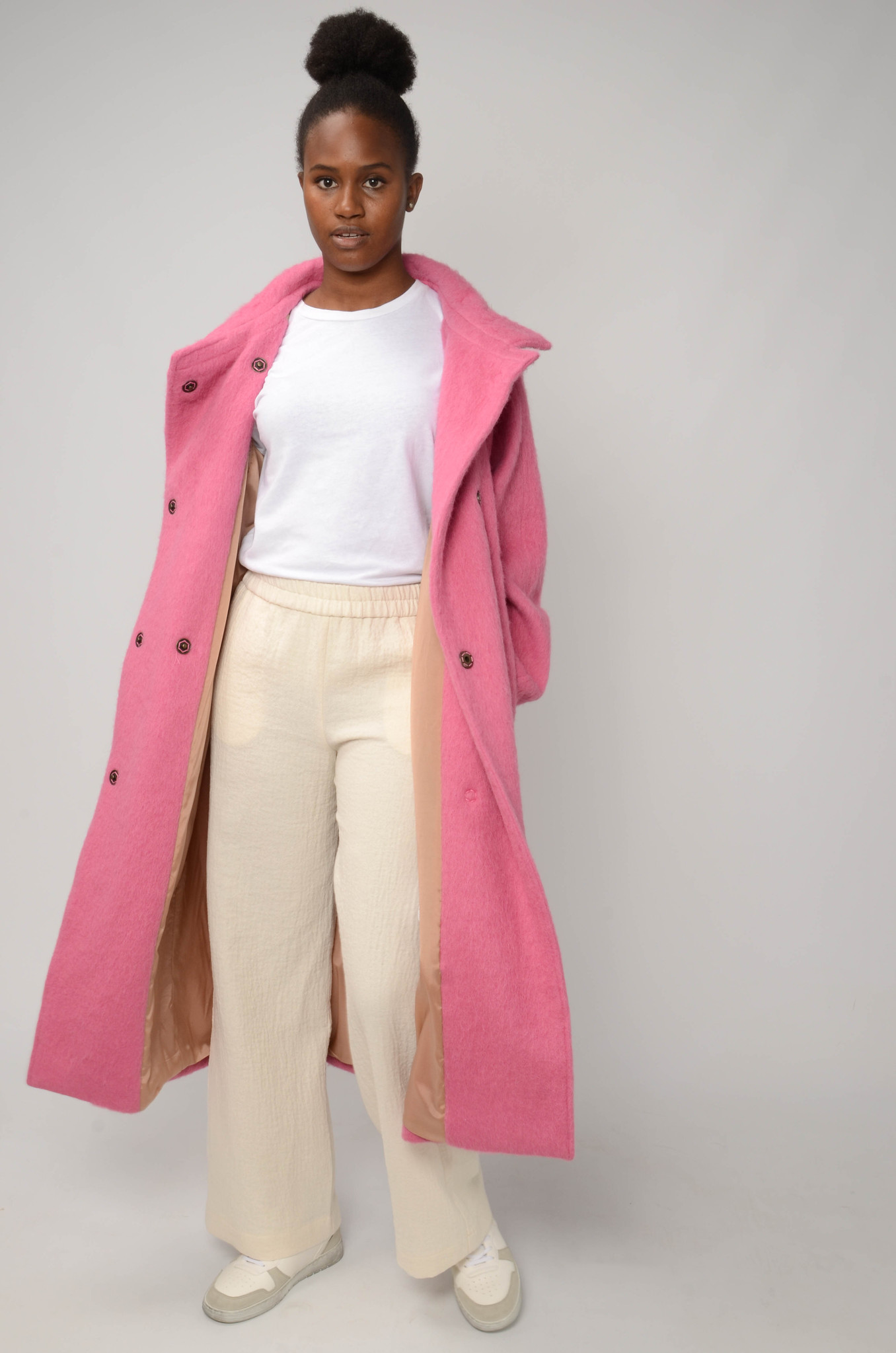 LONG BELTED COAT IN BRIGHT PINK-2