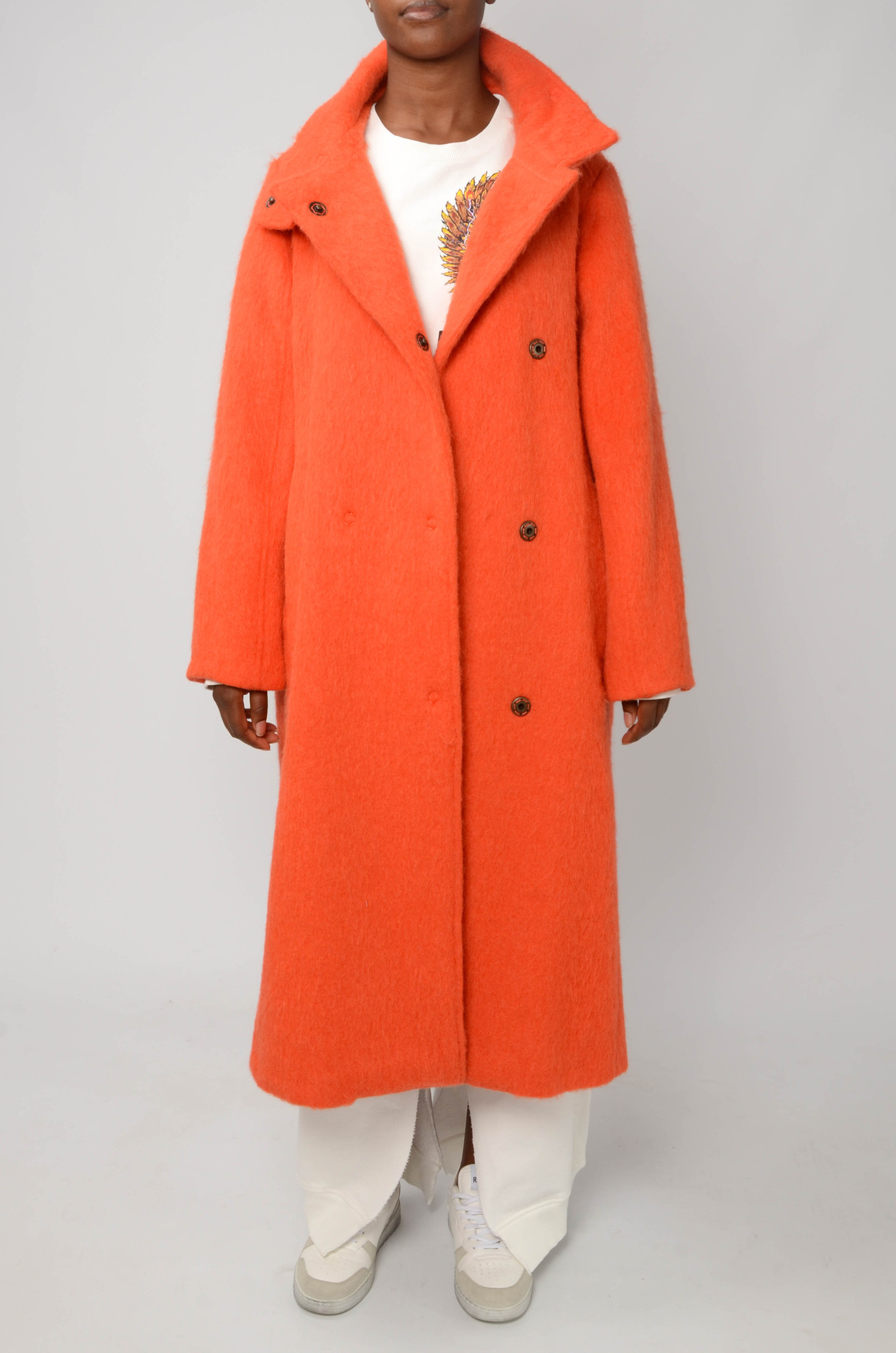 LONG BELTED COAT IN ORANGE-5
