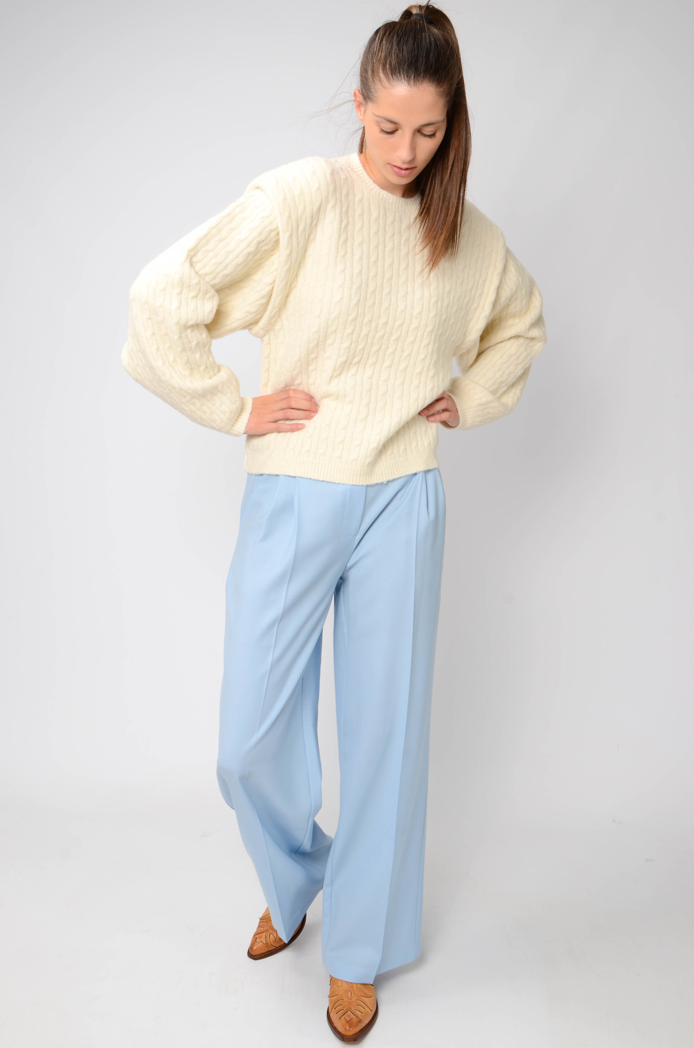 WIDE PLEATED TROUSERS IN BABY BLUE-2
